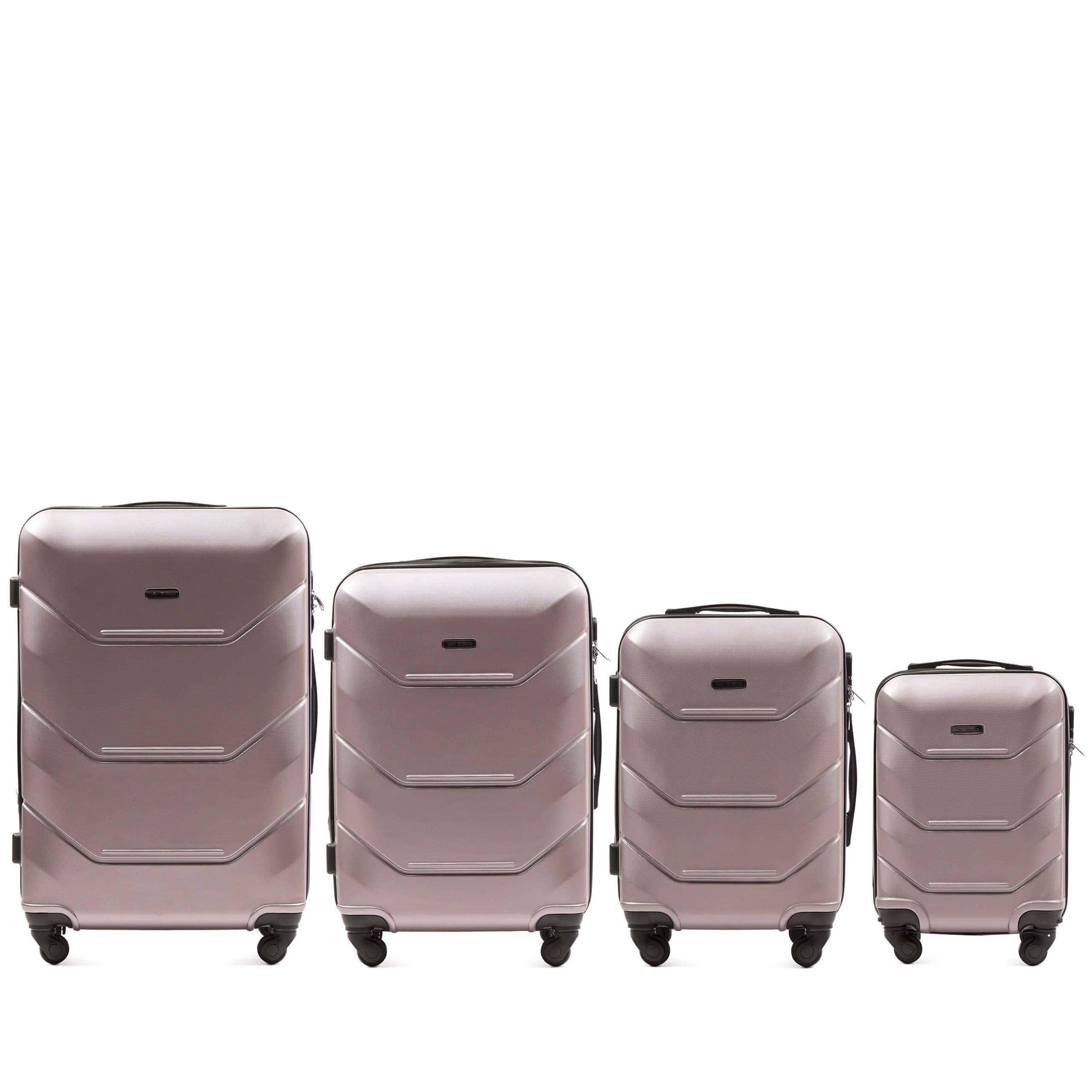 Комплект чемоданов из АБС Поликарбонат! ПОЛЬСКИЕ  Ударостойкиe ! 147 ROSE GOLD