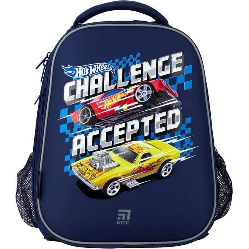 Ghiozdan pt scoala ortopedic  cu carcasa Kite Education Hot Wheels HW20-531M