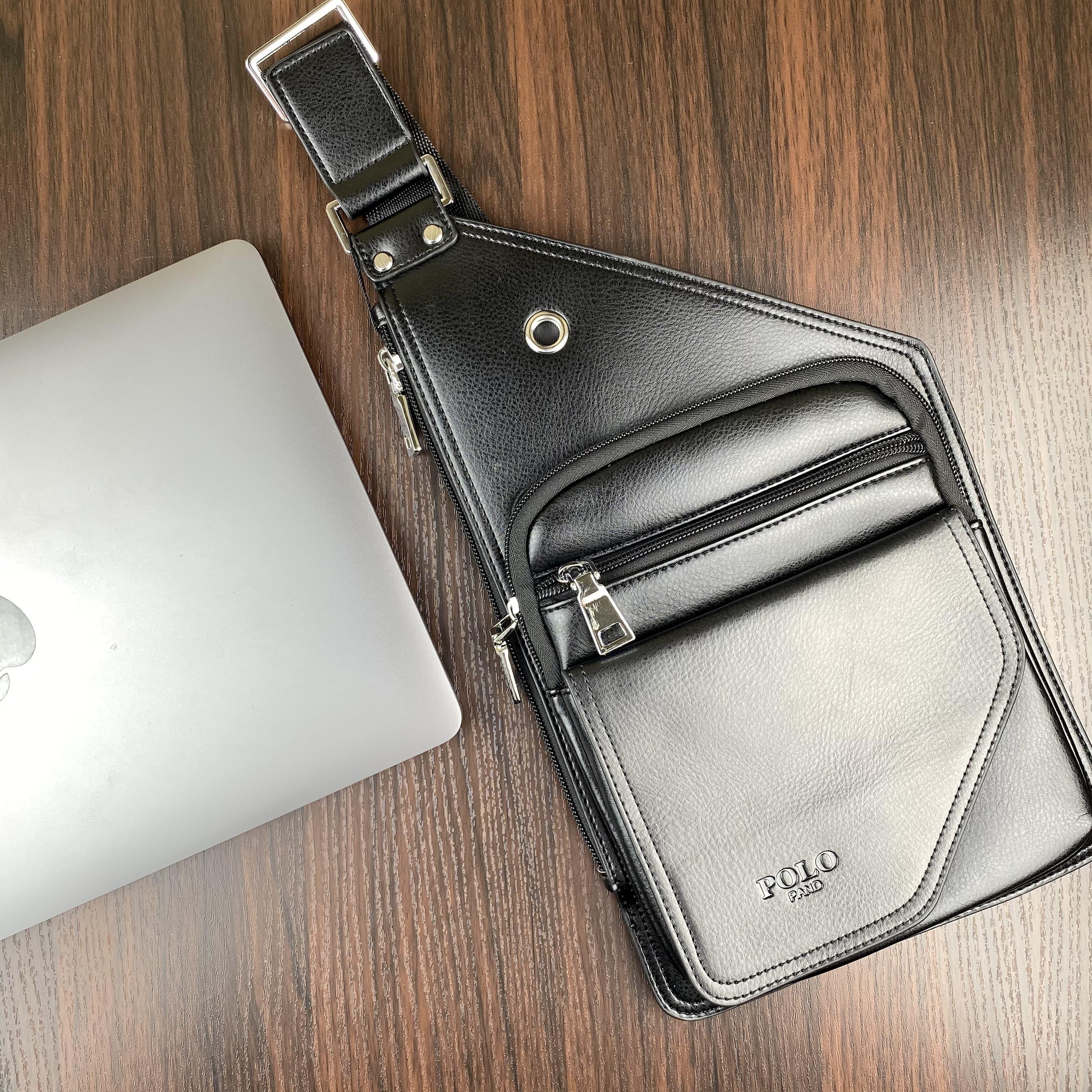 Стильная небольшая мужская сумка бананка с эко кожи POLO B1107 BLACK