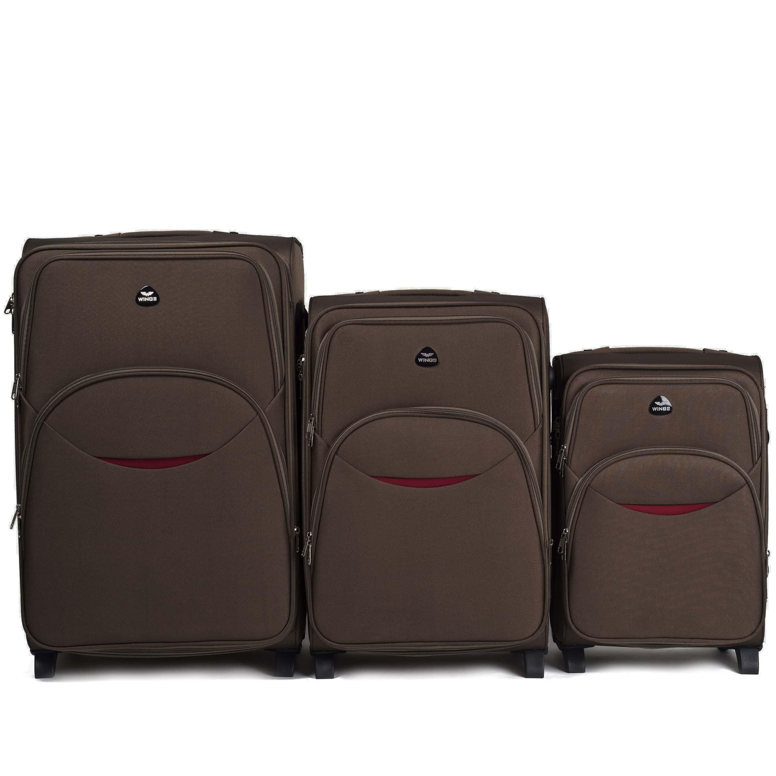 Комплект чемоданов из Ткани! ПОЛЬСКИЕ  Ударостойкиe ! 1708-2 COFFE