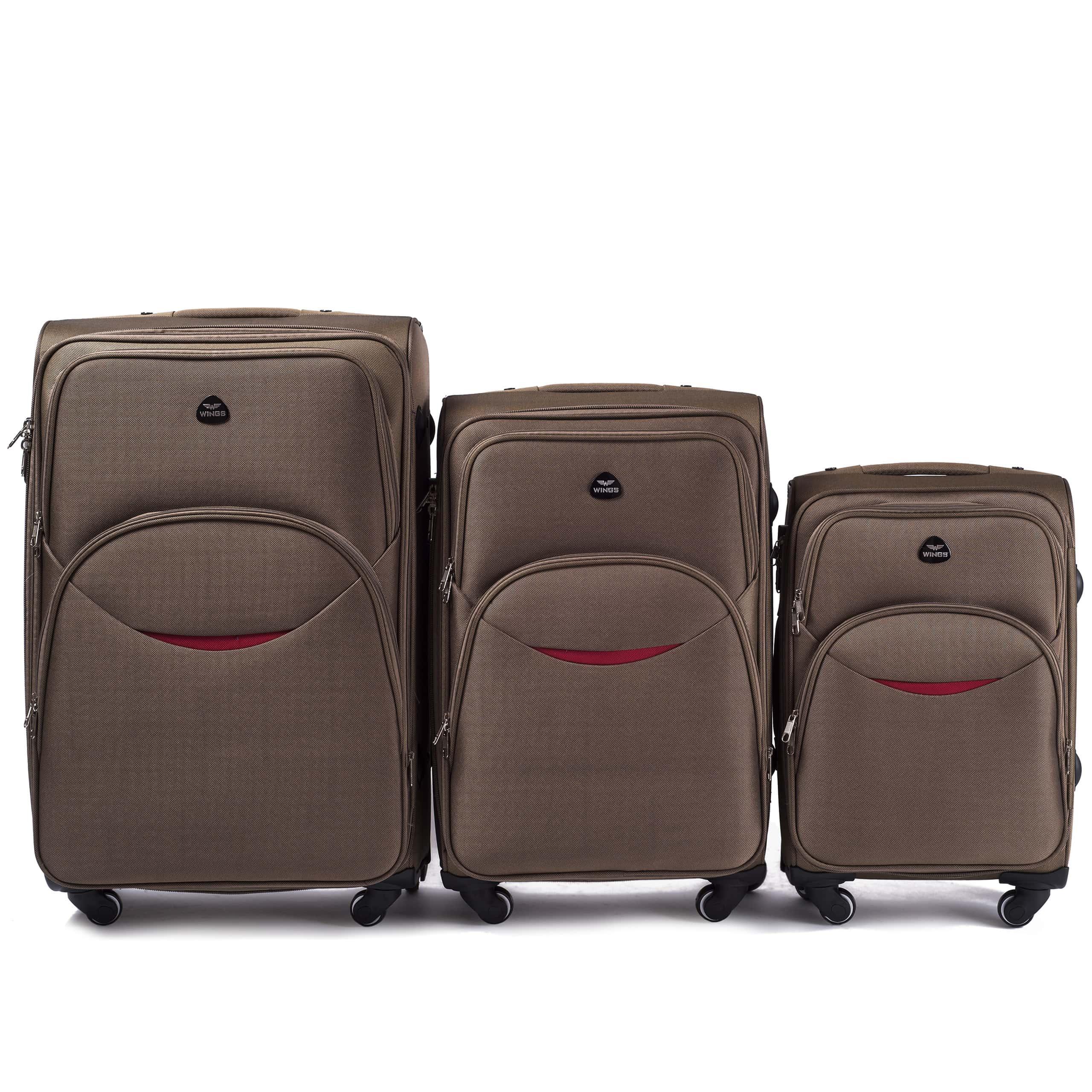 Комплект чемоданов из Ткани! ПОЛЬСКИЕ  Ударостойкиe ! 1708-4 DOUBLE YELLOW