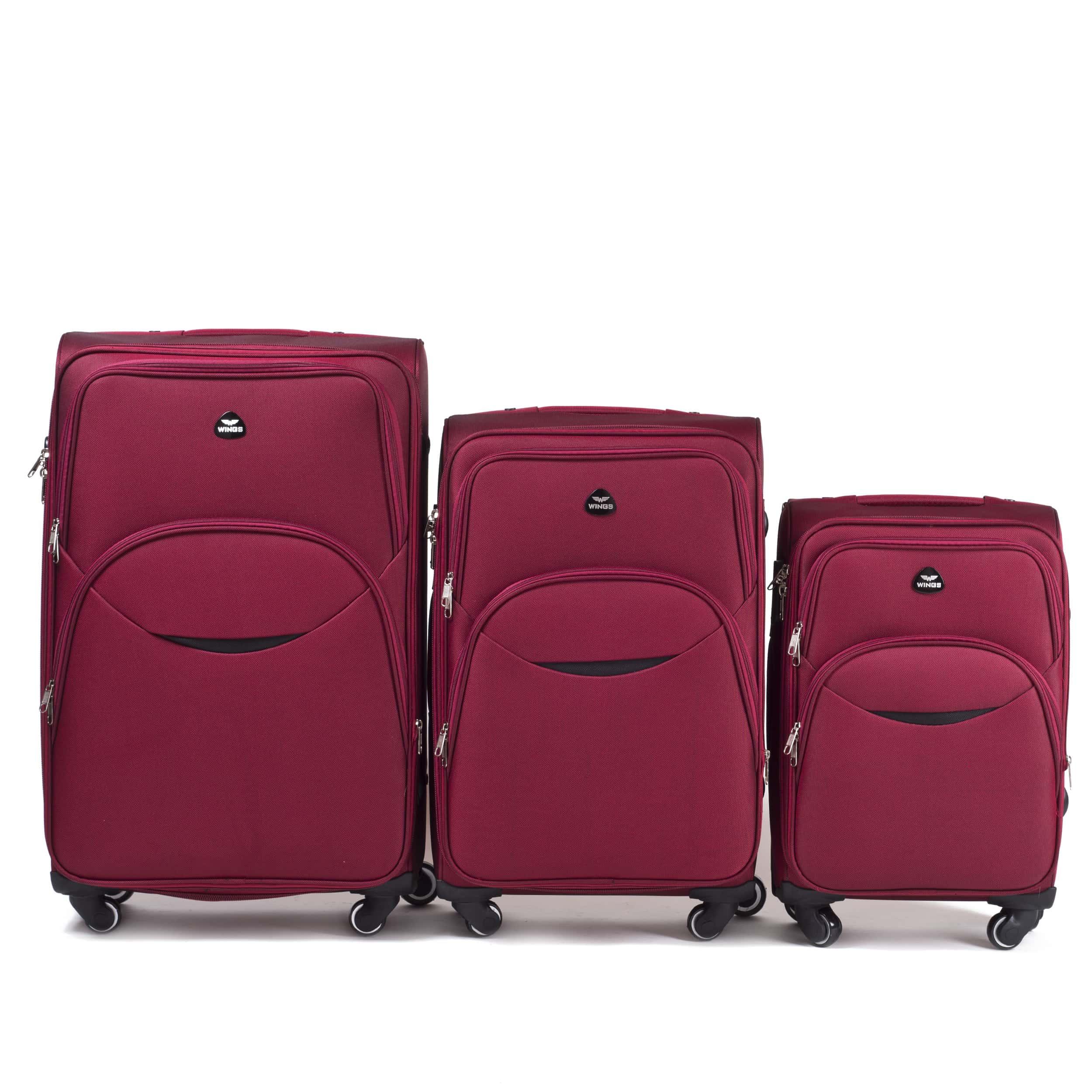 Комплект чемоданов из Ткани! ПОЛЬСКИЕ  Ударостойкиe ! 1708-4 DOUBLE RED