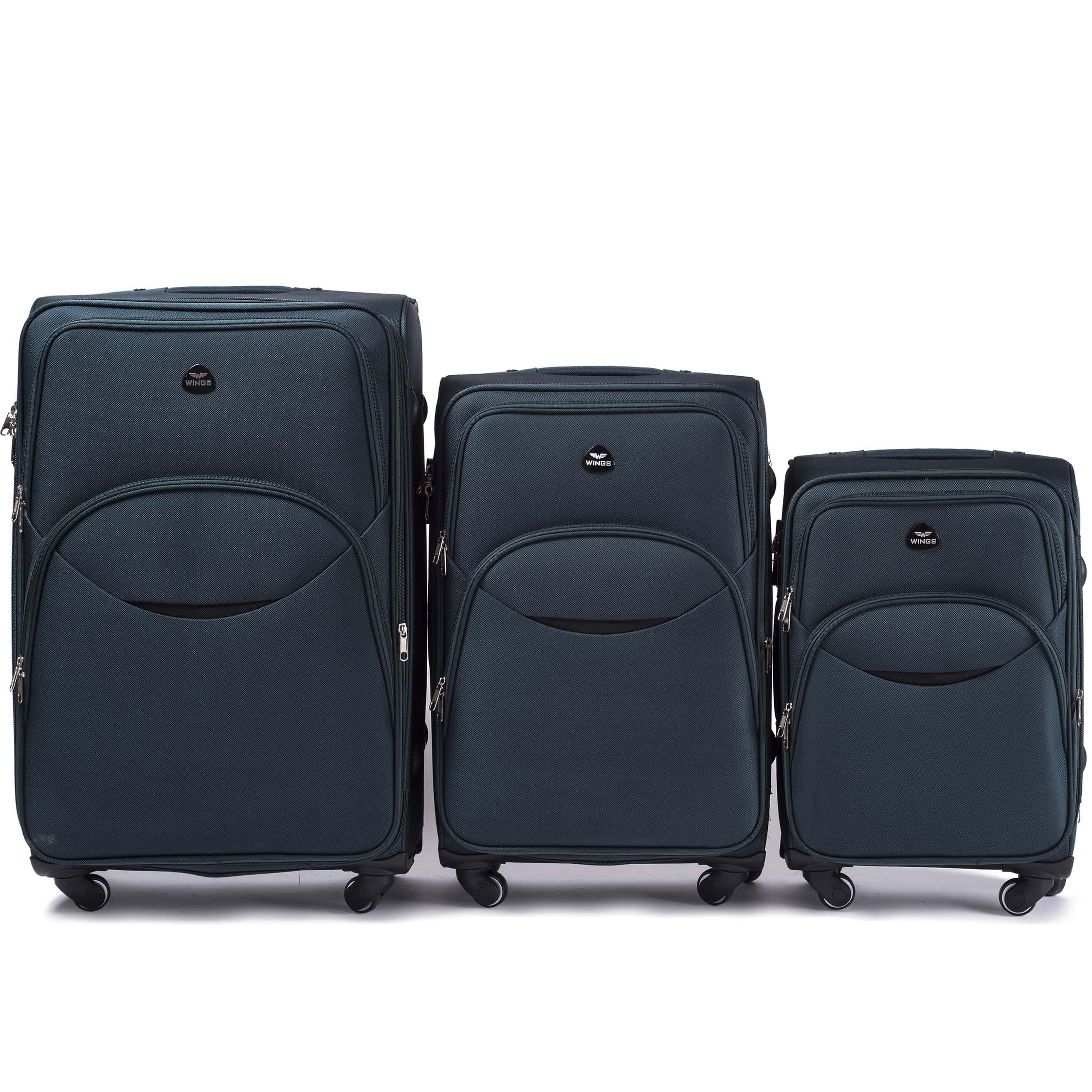 Комплект чемоданов из Ткани! ПОЛЬСКИЕ  Ударостойкиe ! 1708-4 DOUBLE GREEN