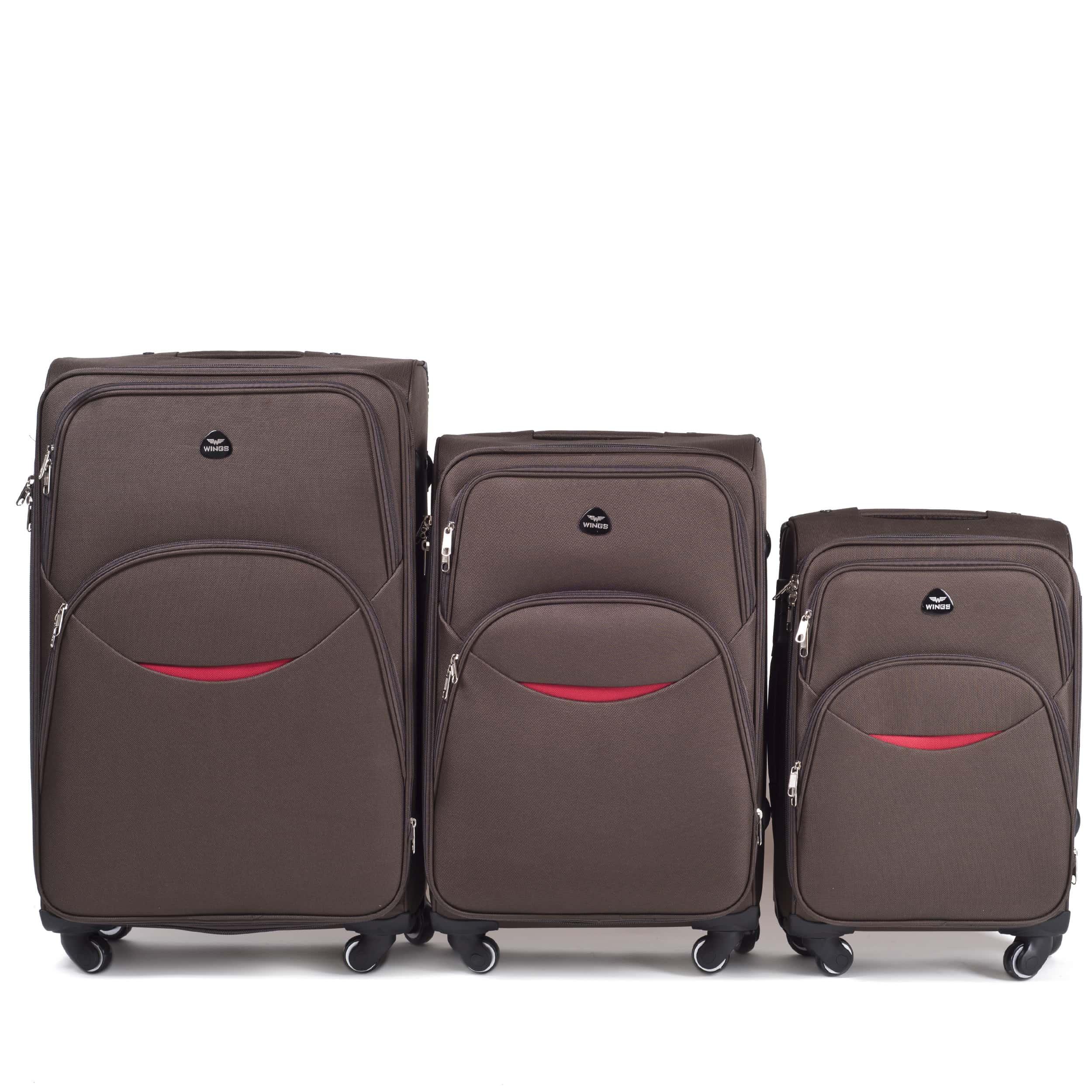 Комплект чемоданов из Ткани! ПОЛЬСКИЕ  Ударостойкиe ! 1708-4 DOUBLE COFFE