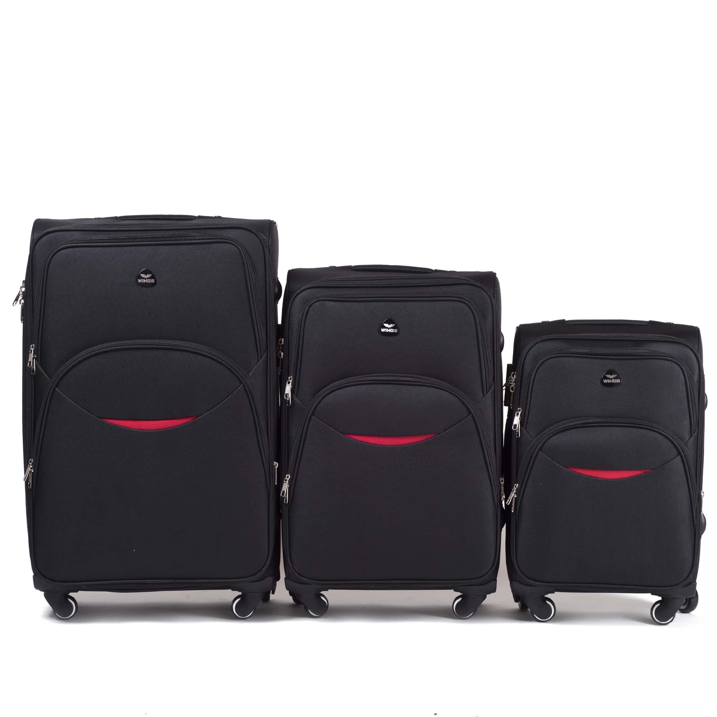 Комплект чемоданов из Ткани! ПОЛЬСКИЕ  Ударостойкиe ! 1708-4 BLACK