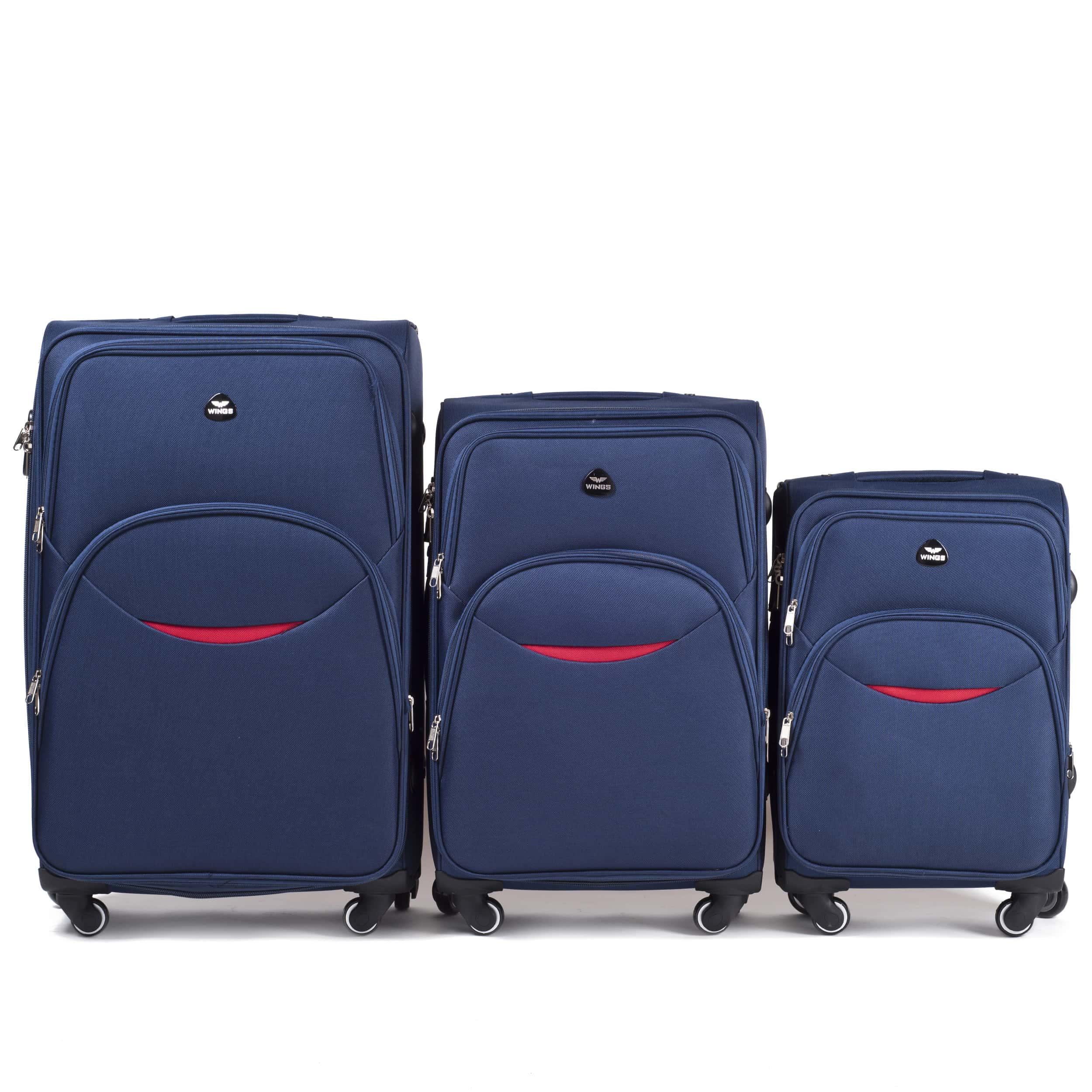 Комплект чемоданов из Ткани! ПОЛЬСКИЕ  Ударостойкиe ! 1708-4 BLUE