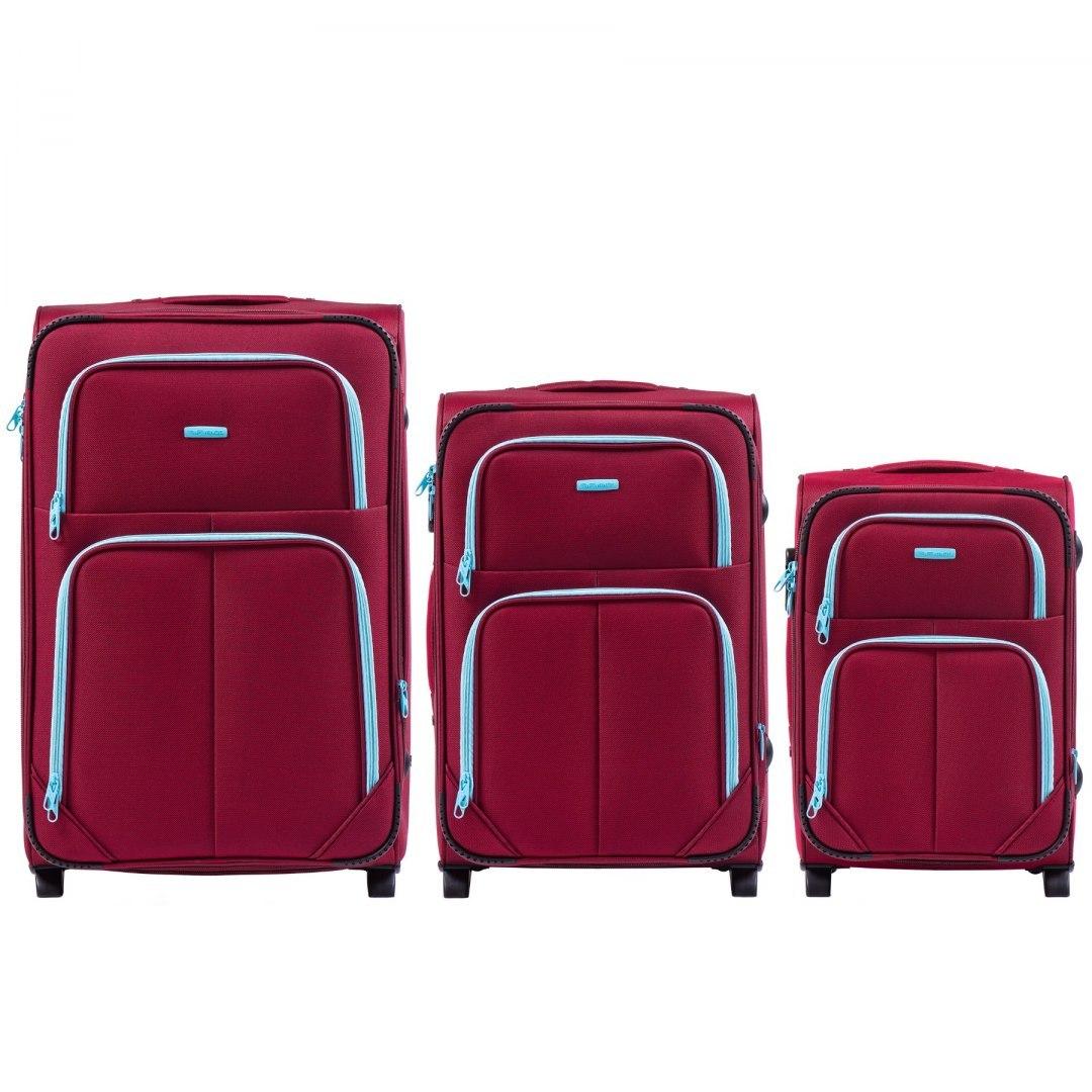 Комплект чемоданов из Ткани на 2 колесиках WINGS 214-2 SET RED