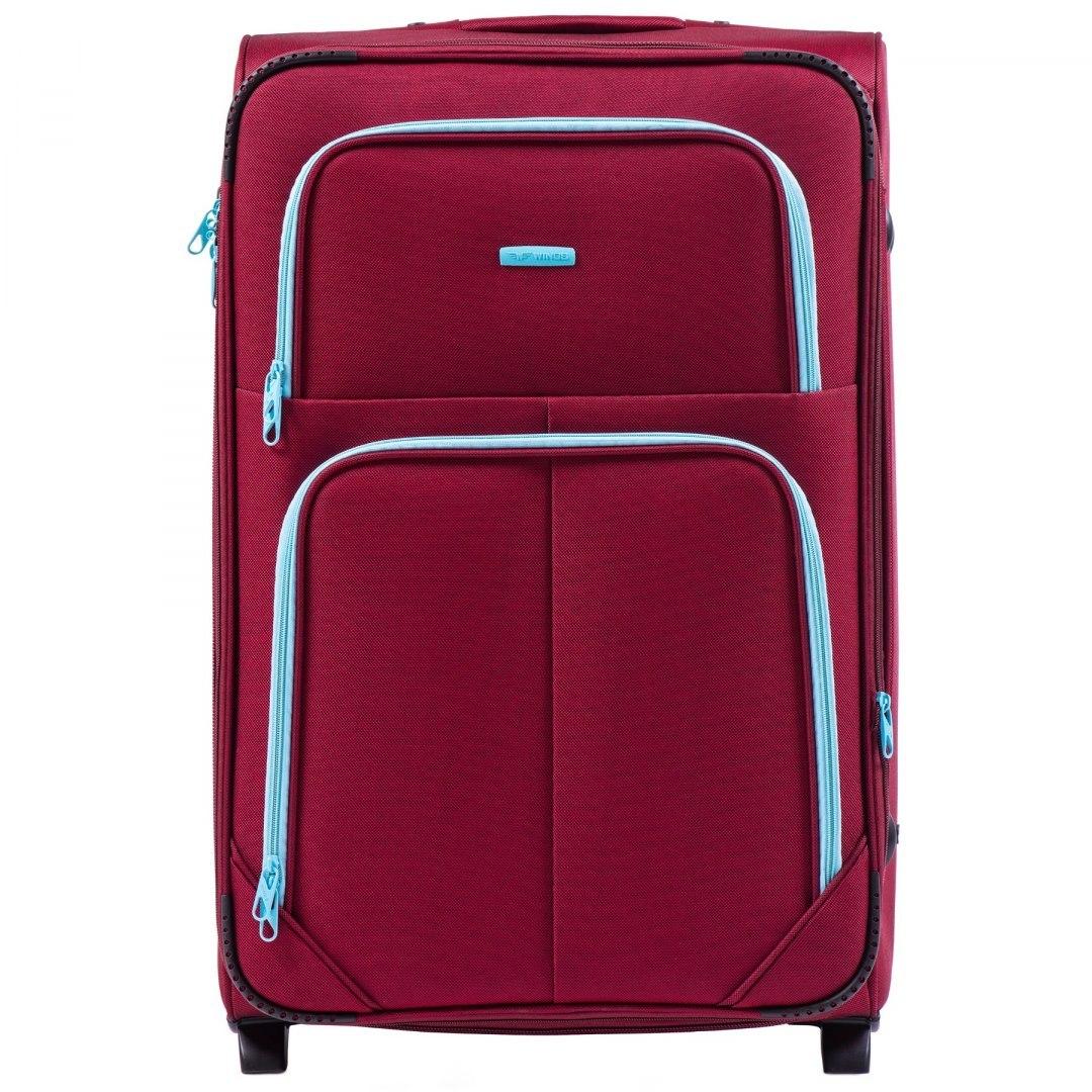 Большой тканевый чемодан на 2 колесах WINGS 214-2 L RED