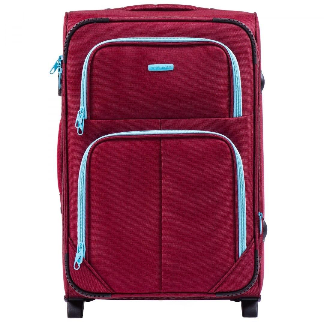 Средний тканевый чемодан на 2 колесах WINGS 214-2 M RED