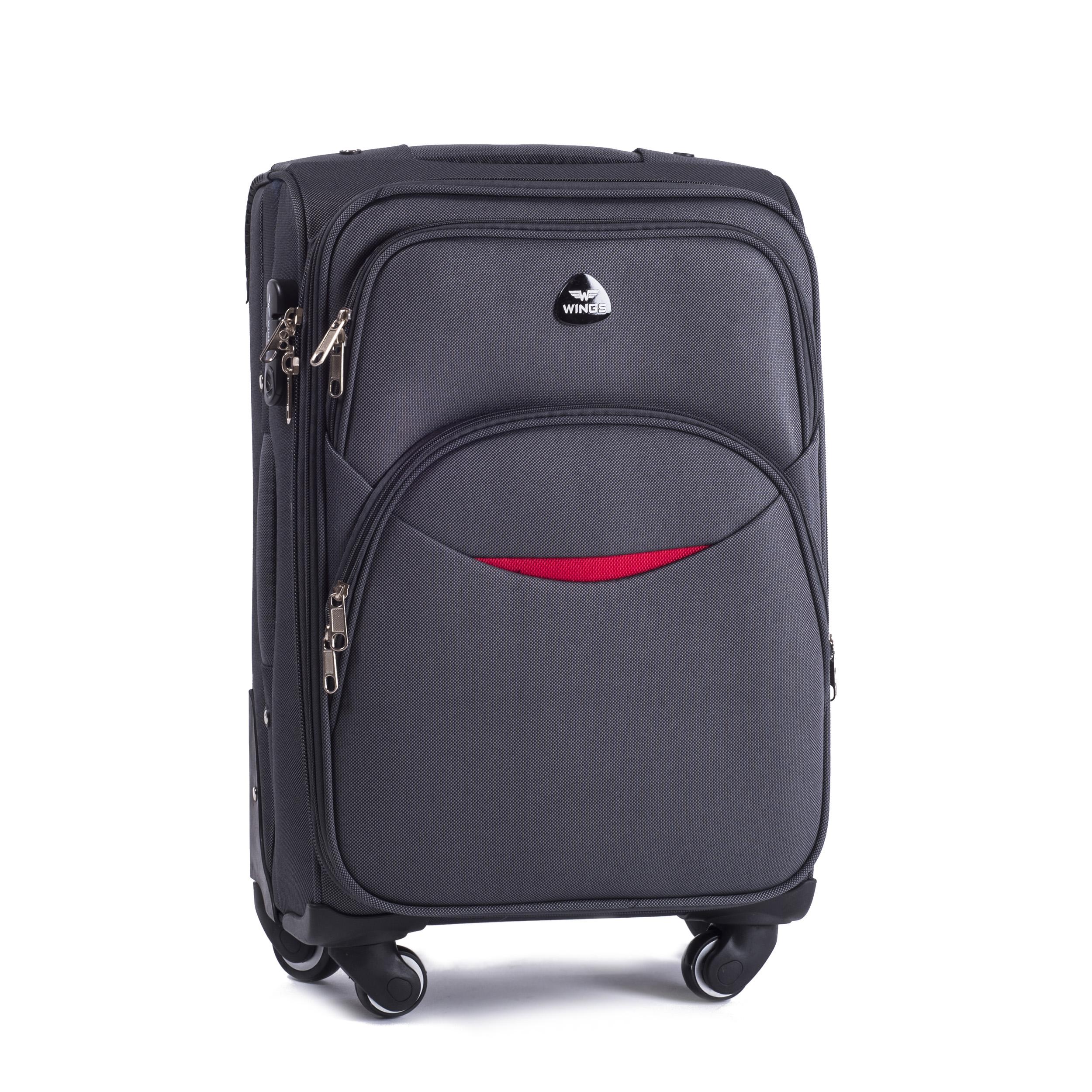 Малый Тканевый Чемодан Wings 1706-4 S D.GREY PREMIUM на 4-х прочных колесах!  Для багажа,до 10 кг
