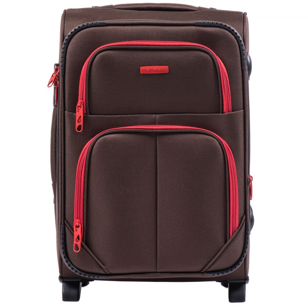 Маленький тканевый чемодан на 2 колесах WINGS 214-2 S COFFE