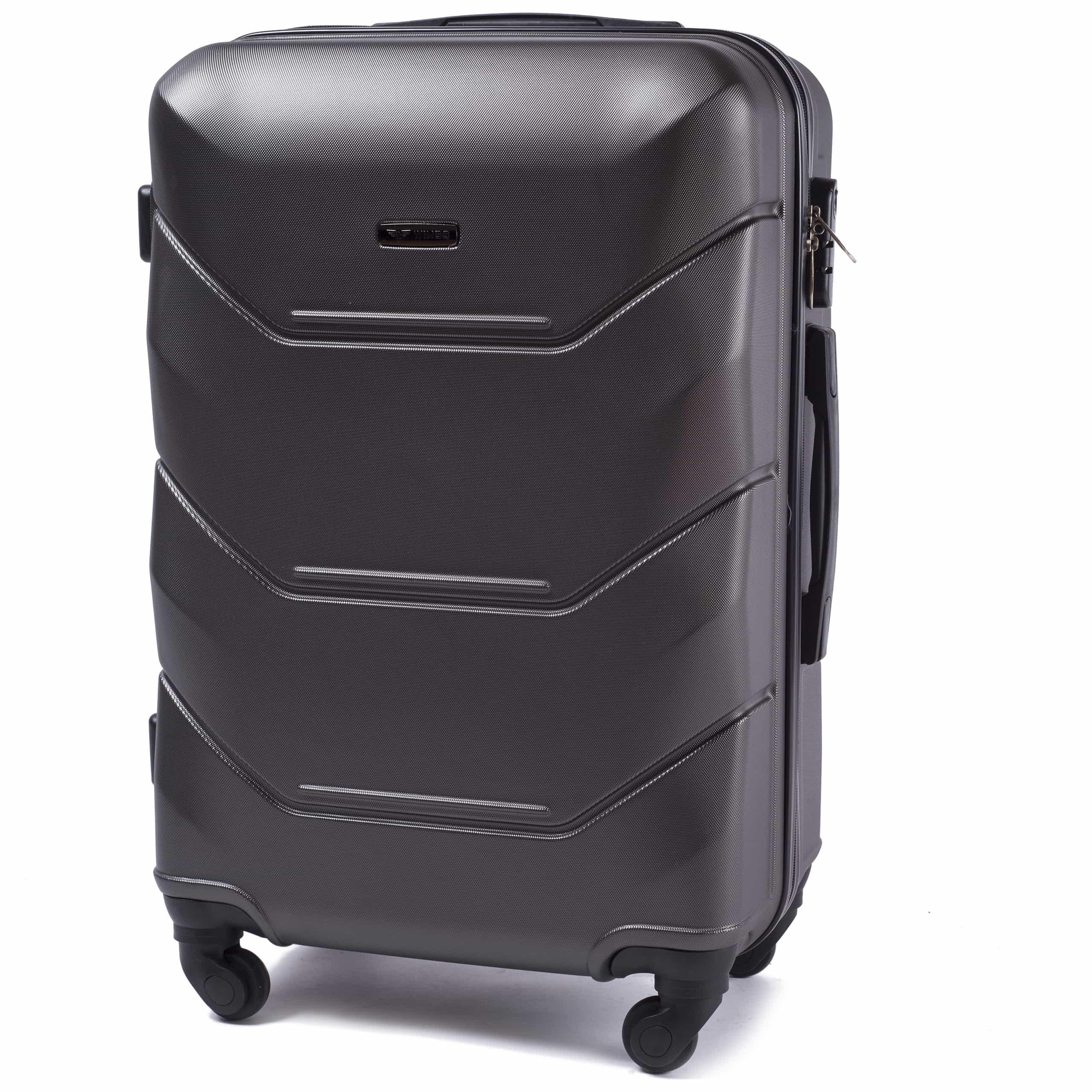СРЕДНИЙ ЧЕМОДАН WINGS 147 M DARK GREY PREMIUM НА 4-Х КАУЧУКОВЫХ КОЛЕСАХ! Для багажа ,до 18 кг
