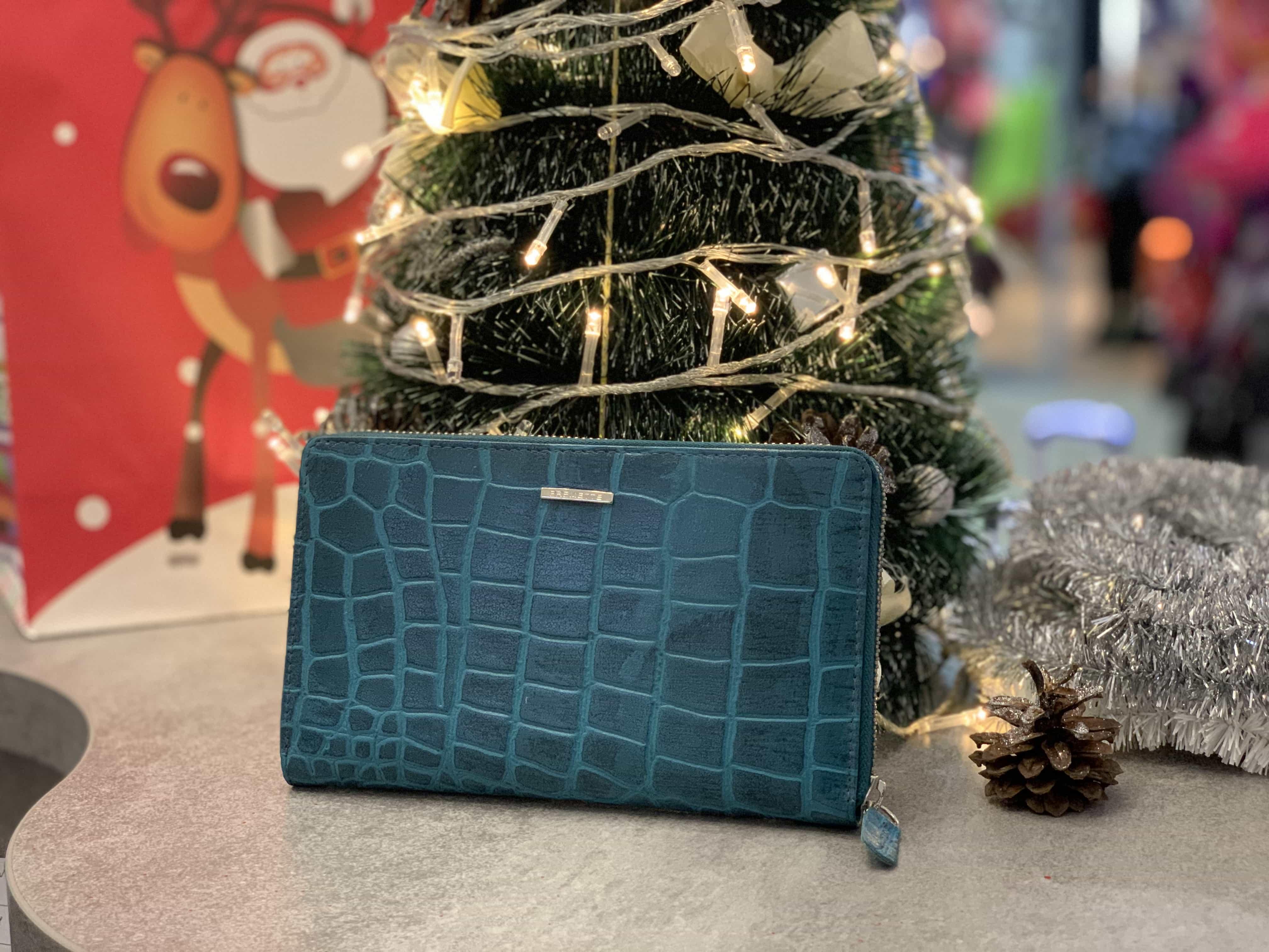 Женский кожаный кошелек из натуральной кожи  EREMETTE 4722NL BLUE CROCKO