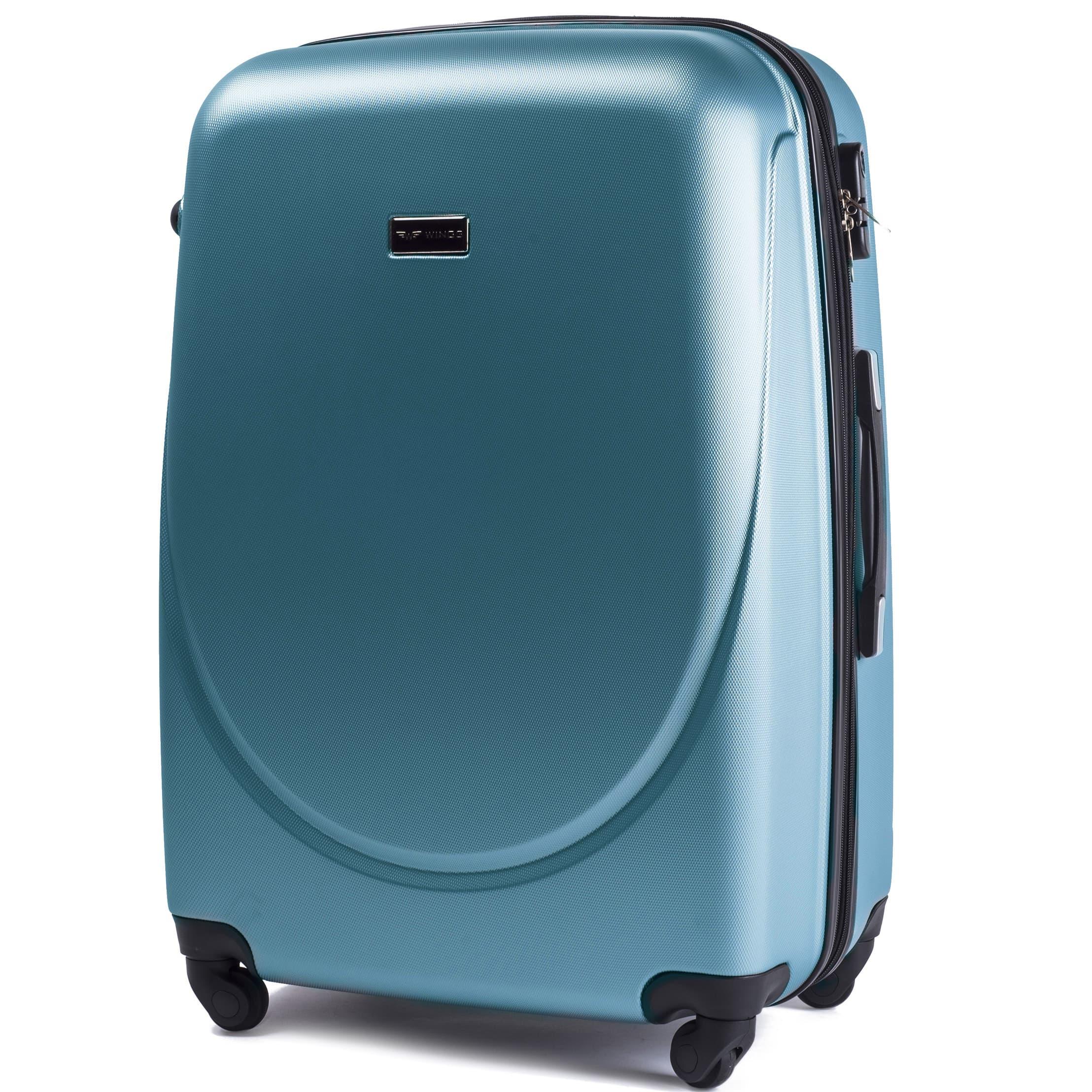 Ударостойкий ! Средний пластиковый чемодан на четырёх каучуковых колёсах