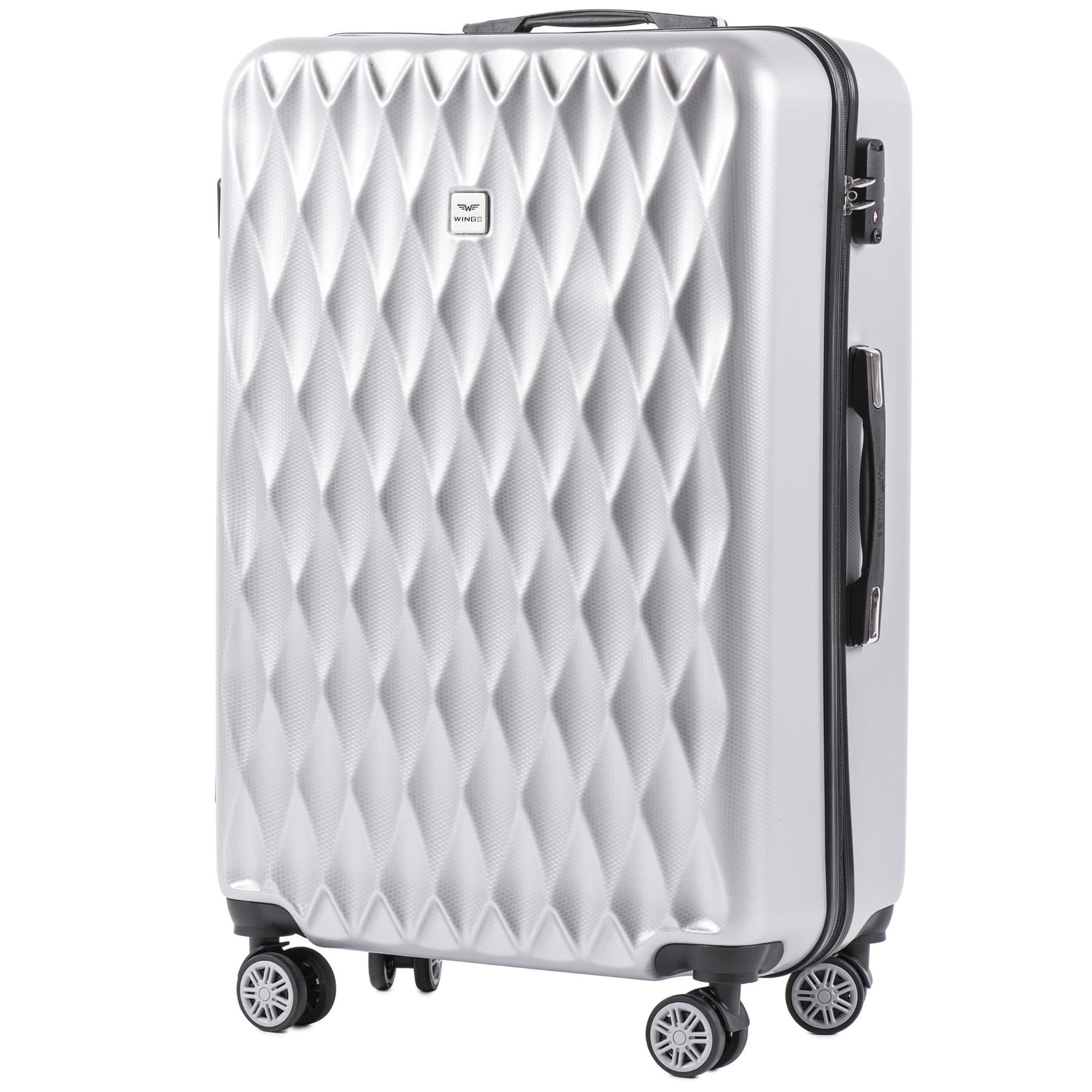 БОЛЬШОЙ ЧЕМОДАН WINGS PC190 L SILVER  PREMIUM НА 4-Х КАУЧУКОВЫХ КОЛЕСАХ! Для багажа ,до 23 кг!