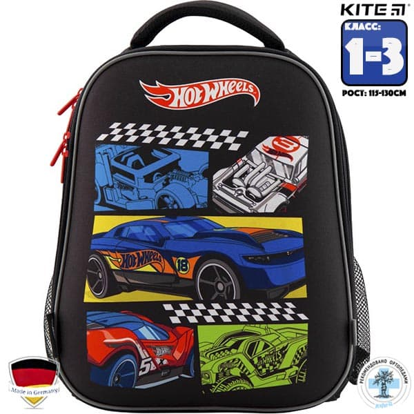 Ghiozdan ortopedic pt scoala cu carcasa  Kite Education Hot Wheels HW19-531M