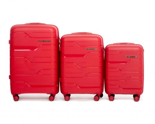 Комплект чемоданов из ПОЛИПРОПИЛЕНА! ПОЛЬСКИЕ  Ударостойкиe ! SET WINGS PP-08 RED