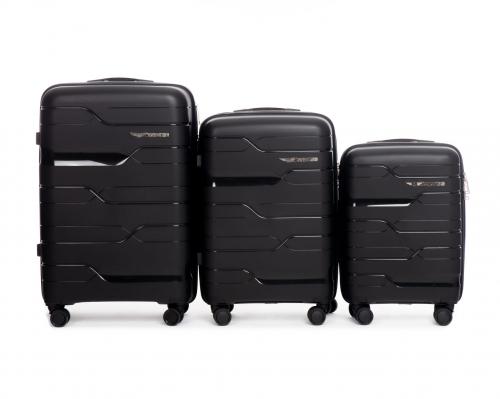 Комплект чемоданов из ПОЛИПРОПИЛЕНА! ПОЛЬСКИЕ  Ударостойкиe !SET WINGS PP-08 BLACK