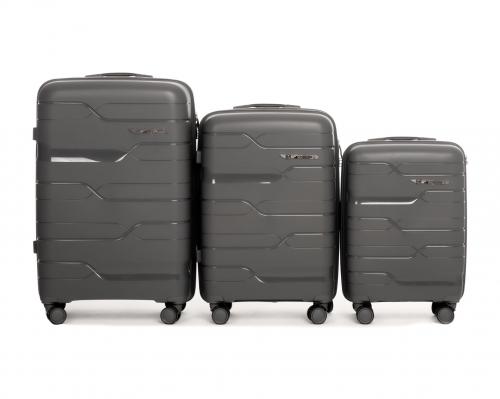 Комплект чемоданов из ПОЛИПРОПИЛЕНА! ПОЛЬСКИЕ  Ударостойкиe ! SET WINGS PP-08 GREY