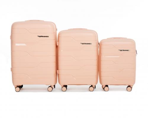 Комплект чемоданов из ПОЛИПРОПИЛЕНА! ПОЛЬСКИЕ  Ударостойкиe !SET WINGS PP-08 PEACH PINK