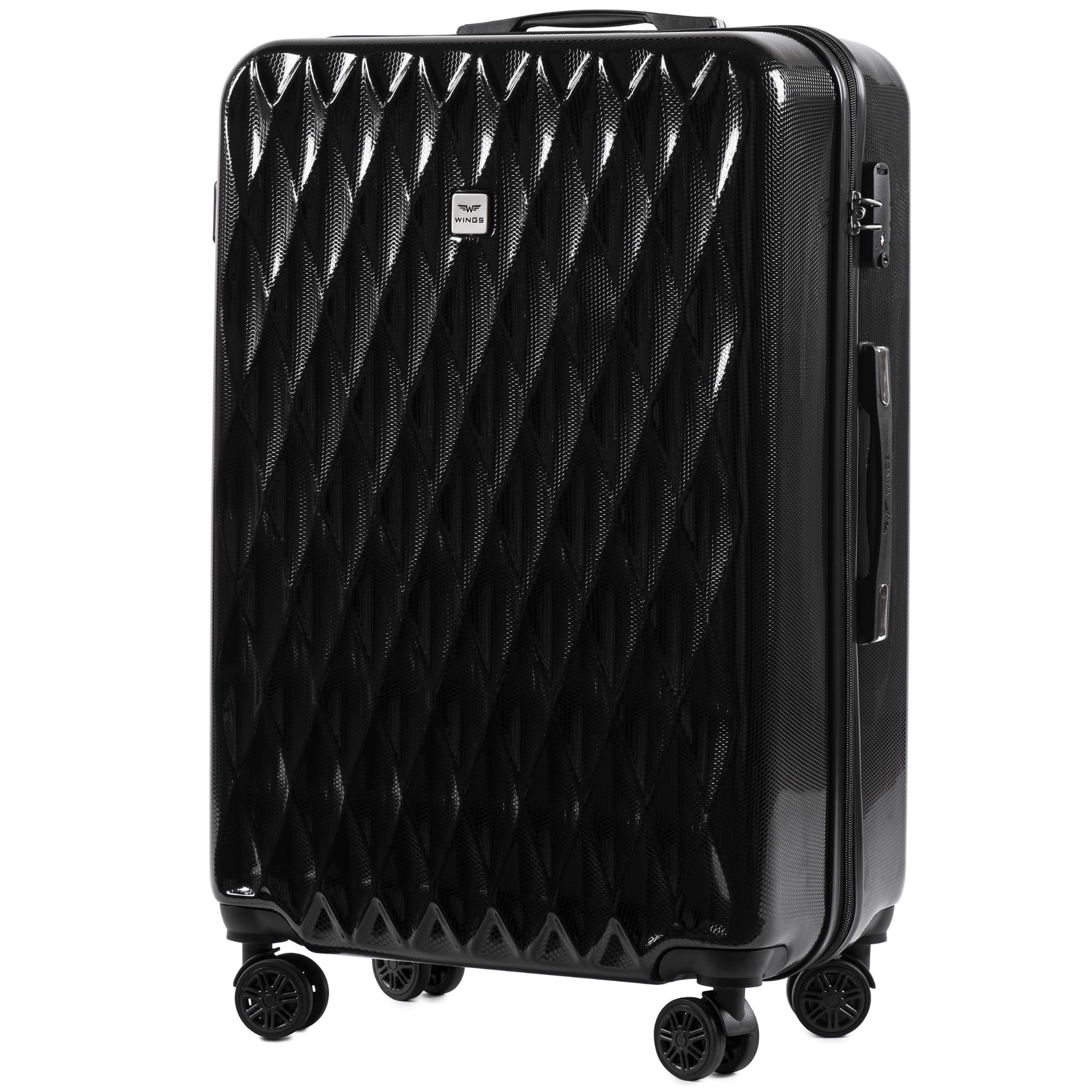 БОЛЬШОЙ ЧЕМОДАН WINGS PC190 L BLACK  PREMIUM НА 4-Х КАУЧУКОВЫХ КОЛЕСАХ! Для багажа ,до 23 кг!