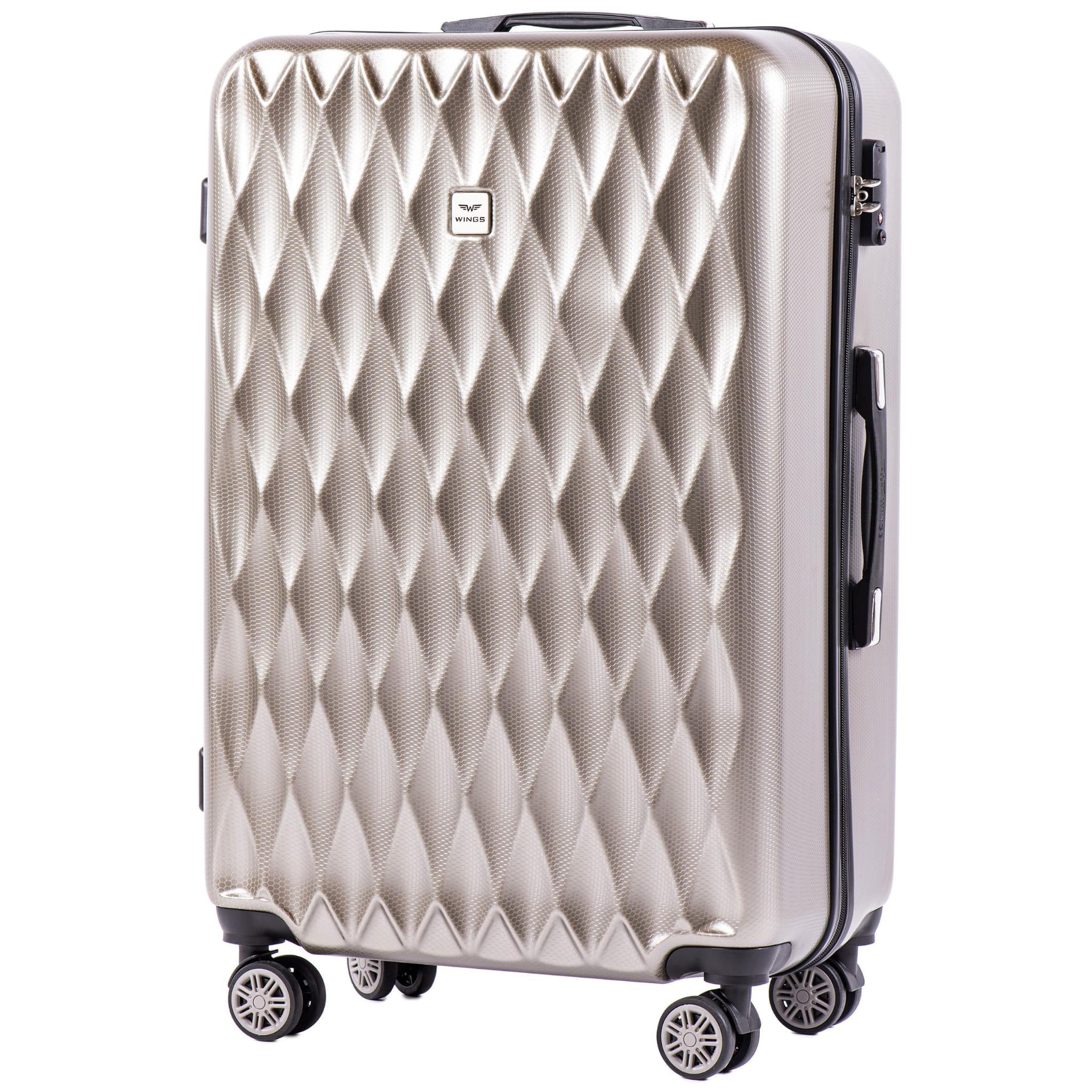 БОЛЬШОЙ ЧЕМОДАН WINGS PC190 L BRONZE  PREMIUM НА 4-Х КАУЧУКОВЫХ КОЛЕСАХ! Для багажа ,до 23 кг!