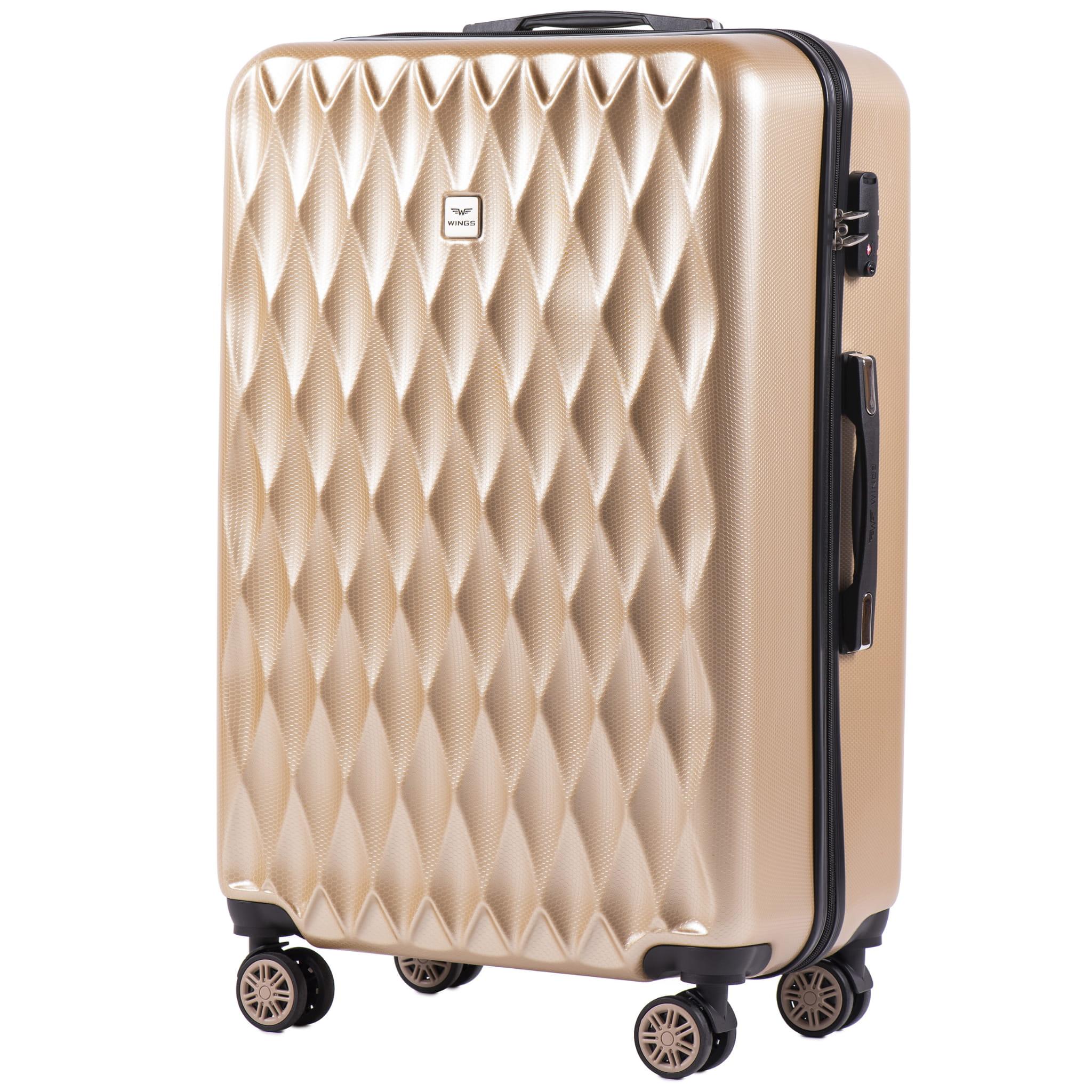БОЛЬШОЙ ЧЕМОДАН WINGS PC190 L CHAMPANGE  PREMIUM НА 4-Х КАУЧУКОВЫХ КОЛЕСАХ! Для багажа ,до 23 кг!
