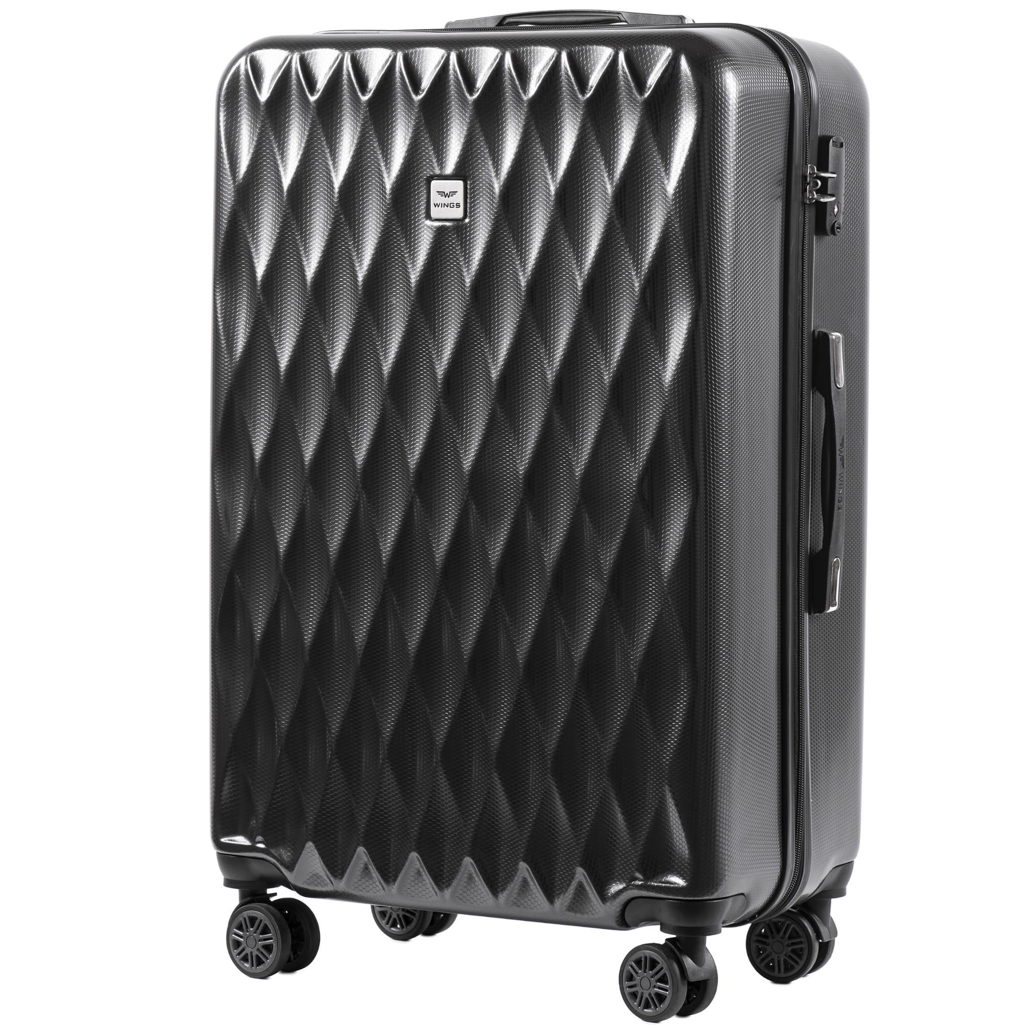 БОЛЬШОЙ ЧЕМОДАН WINGS PC190 L DARK GREY  PREMIUM НА 4-Х КАУЧУКОВЫХ КОЛЕСАХ! Для багажа ,до 23 кг!