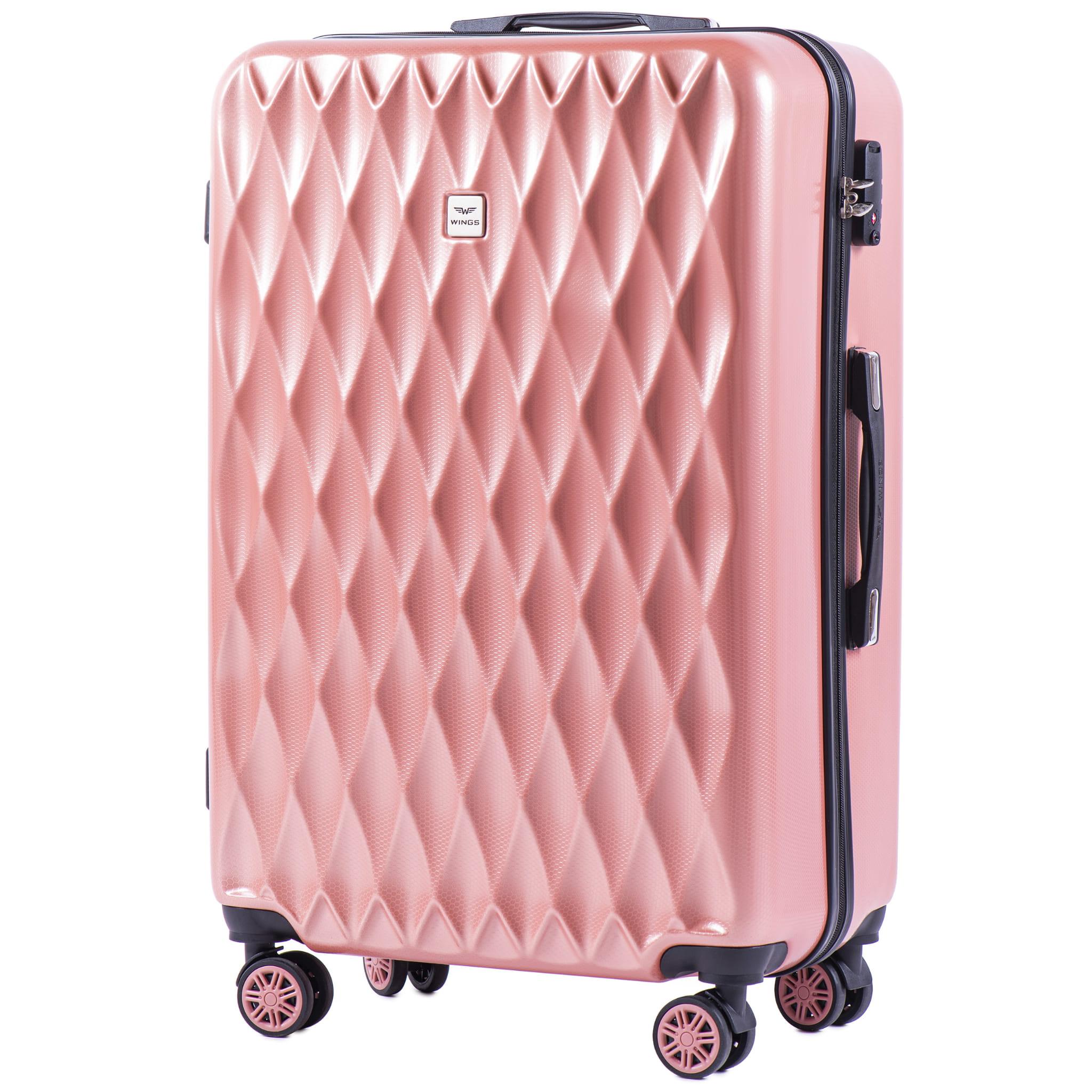 БОЛЬШОЙ ЧЕМОДАН WINGS PC190 L PINK  PREMIUM НА 4-Х КАУЧУКОВЫХ КОЛЕСАХ! Для багажа ,до 23 кг!