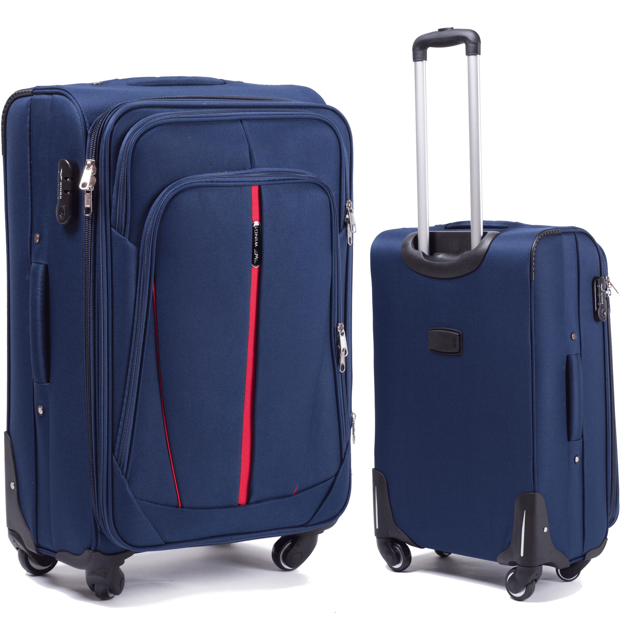 Средний Тканевый Чемодан Wings 1706-4 M Blue PREMIUM на 4-х прочных колесах! Для багажа,до 18 кг