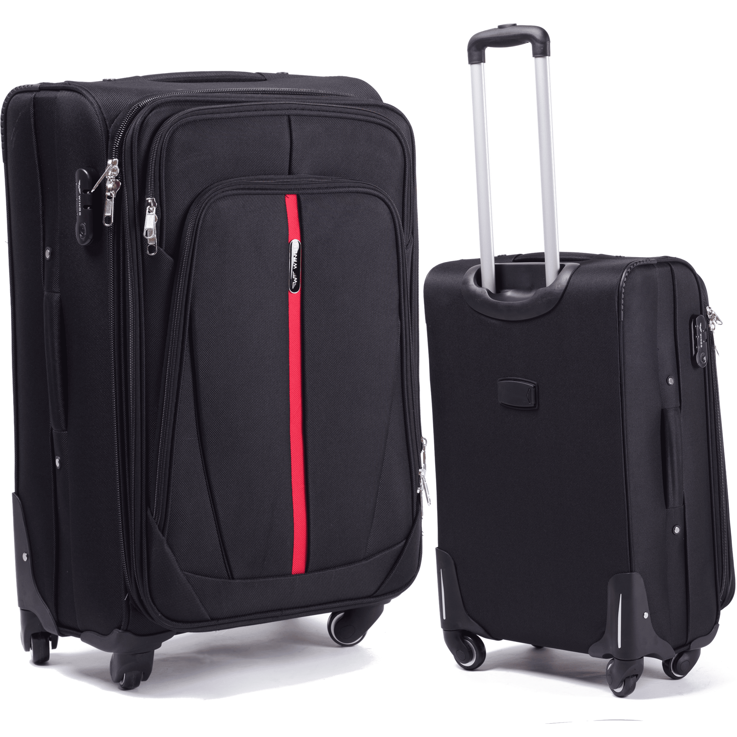 Малый Тканевый Чемодан Wings 1706-4 S Black PREMIUM на 4-х прочных колесах!  Для багажа,до 10 кг