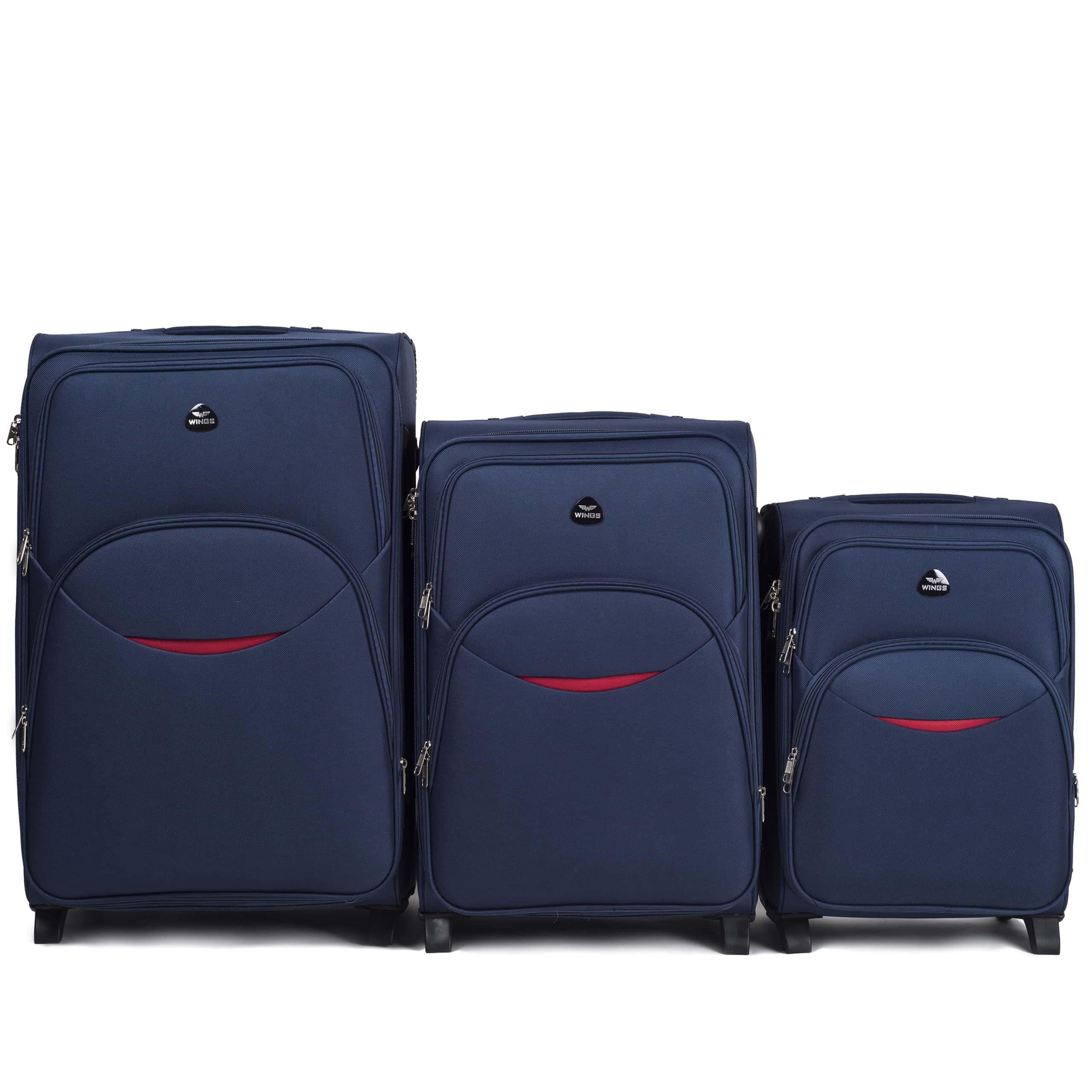 Комплект чемоданов из Ткани! ПОЛЬСКИЕ  Ударостойкиe ! 1708-2 BLUE