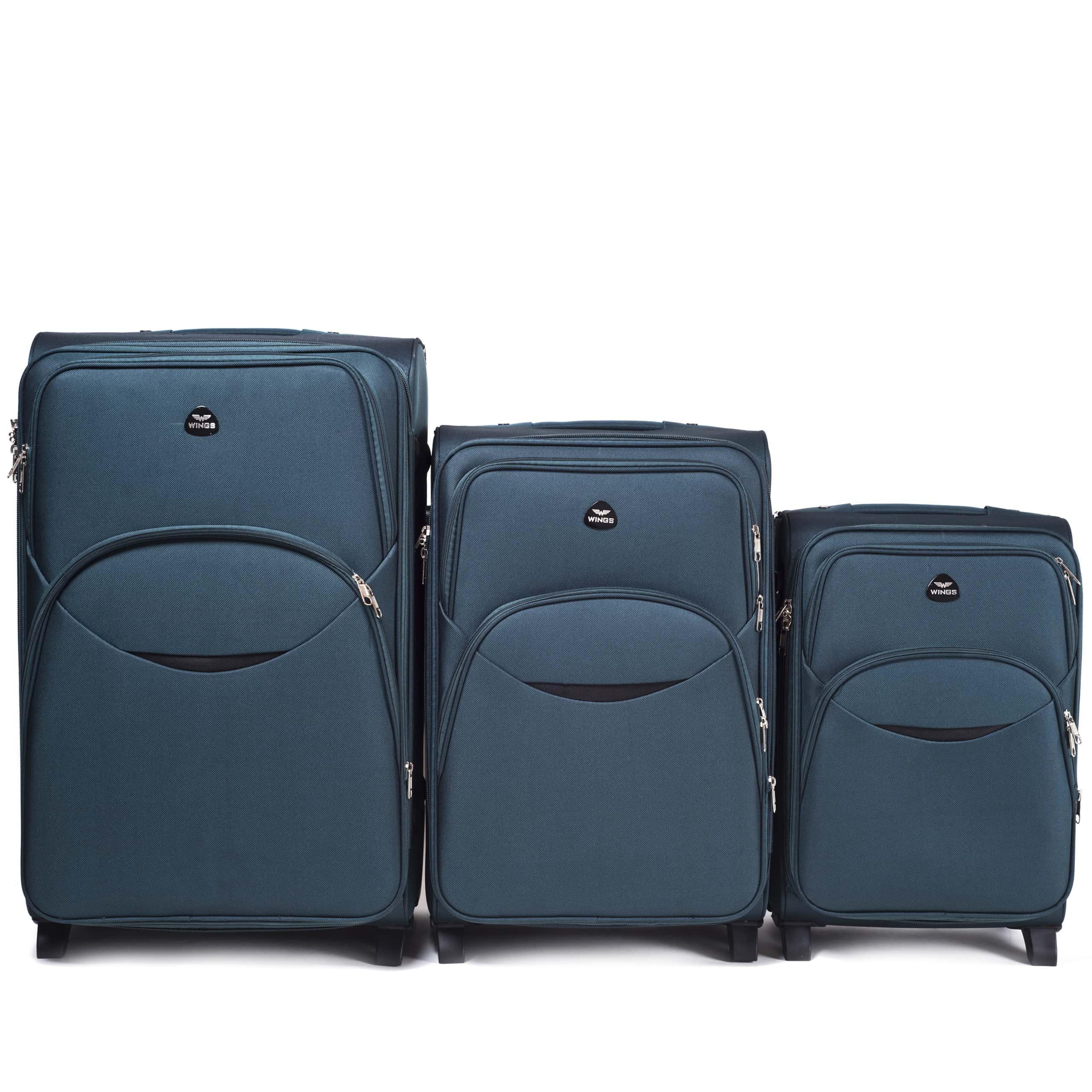Комплект чемоданов из Ткани! ПОЛЬСКИЕ  Ударостойкиe ! 1708-2 DOUBLE GREEN
