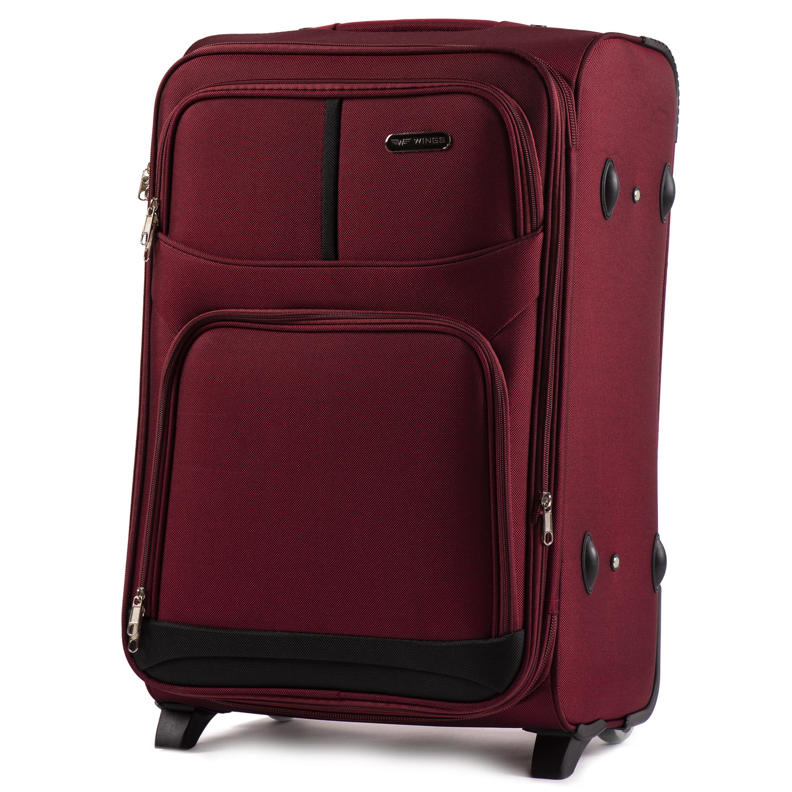 Valiza medie WINGS 206-2 M D.RED Premium pe 2 roti din cauciuc!Usor si Rezistent!Pina la 18 kg