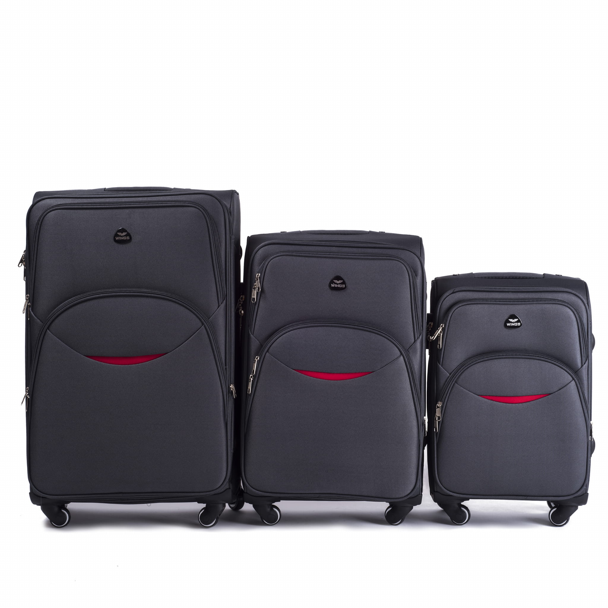 Комплект чемоданов из Ткани! ПОЛЬСКИЕ  Ударостойкиe ! 1708-4 GREY