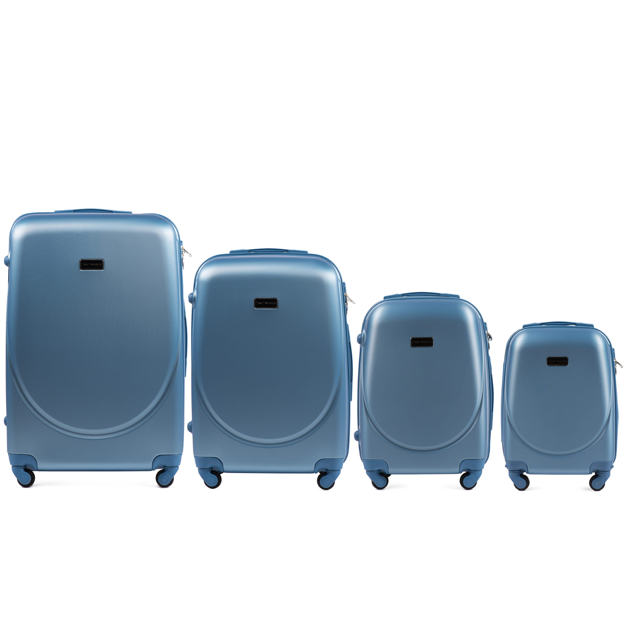 Set de valize din ABS Policarbonat pe 4 roti! Rezistente si usoare! SET WINGS K310  SILVER-BLUE
