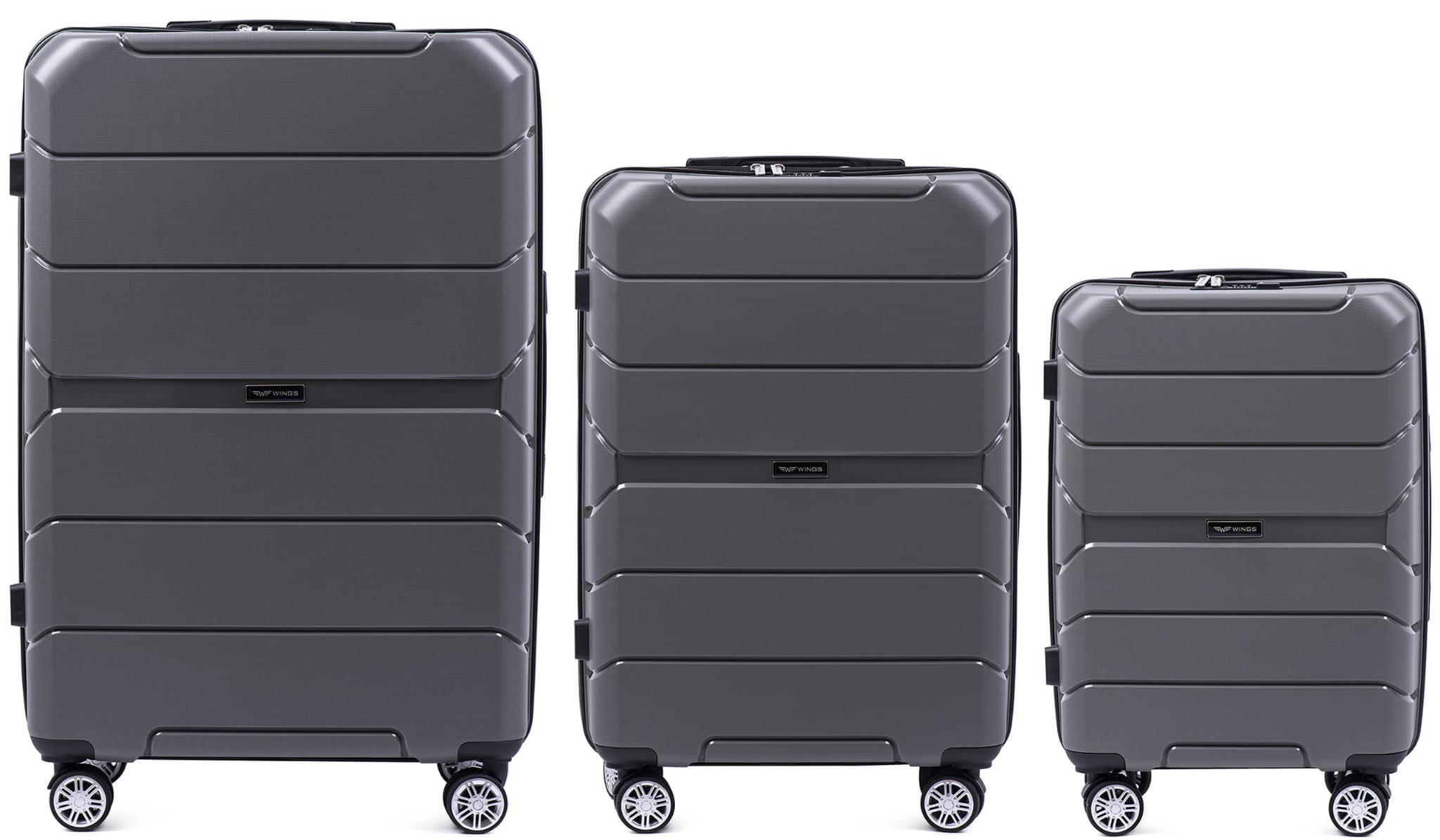Комплект чемоданов из ПОЛИПРОПИЛЕНА! ПОЛЬСКИЕ  Ударостойкиe ! SET WINGS PP-05  GREY
