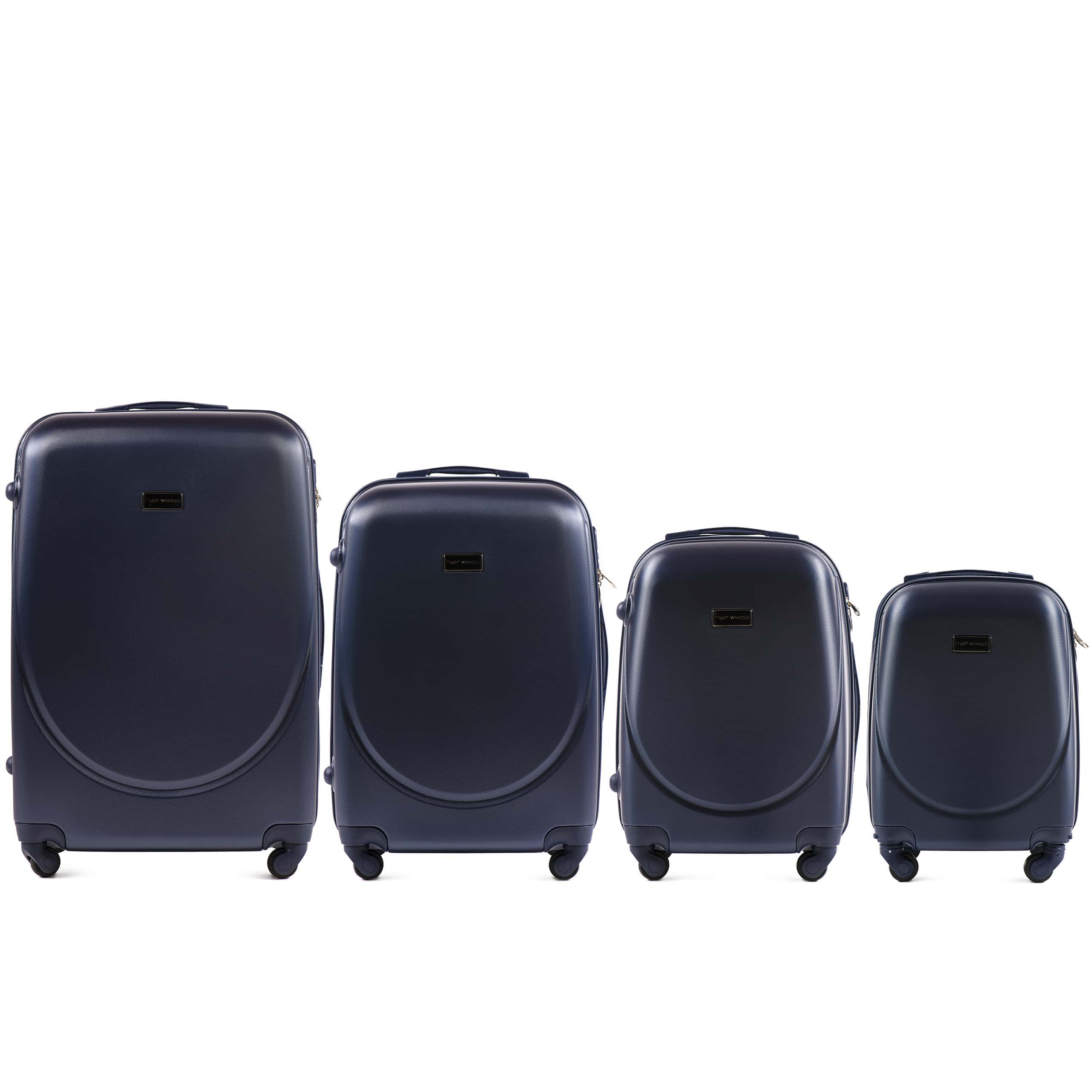 Комплект чемоданов из АБС Поликарбонат! ПОЛЬСКИЕ  Ударостойкиe ! SET WINGS K310  D.BLUE