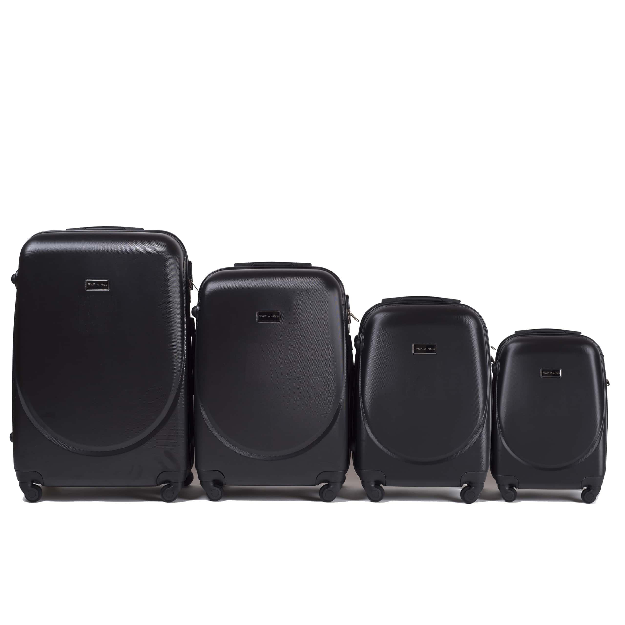 Комплект чемоданов из АБС Поликарбонат! ПОЛЬСКИЕ  Ударостойкиe ! SET WINGS K310  BLACK