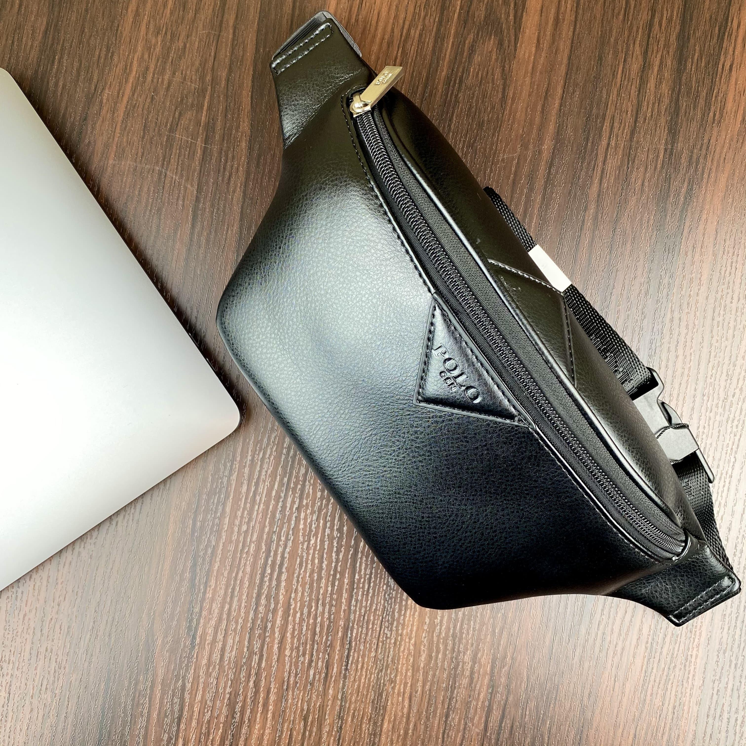 Стильная небольшая мужская сумка бананка с эко кожи POLO B161 BLACK
