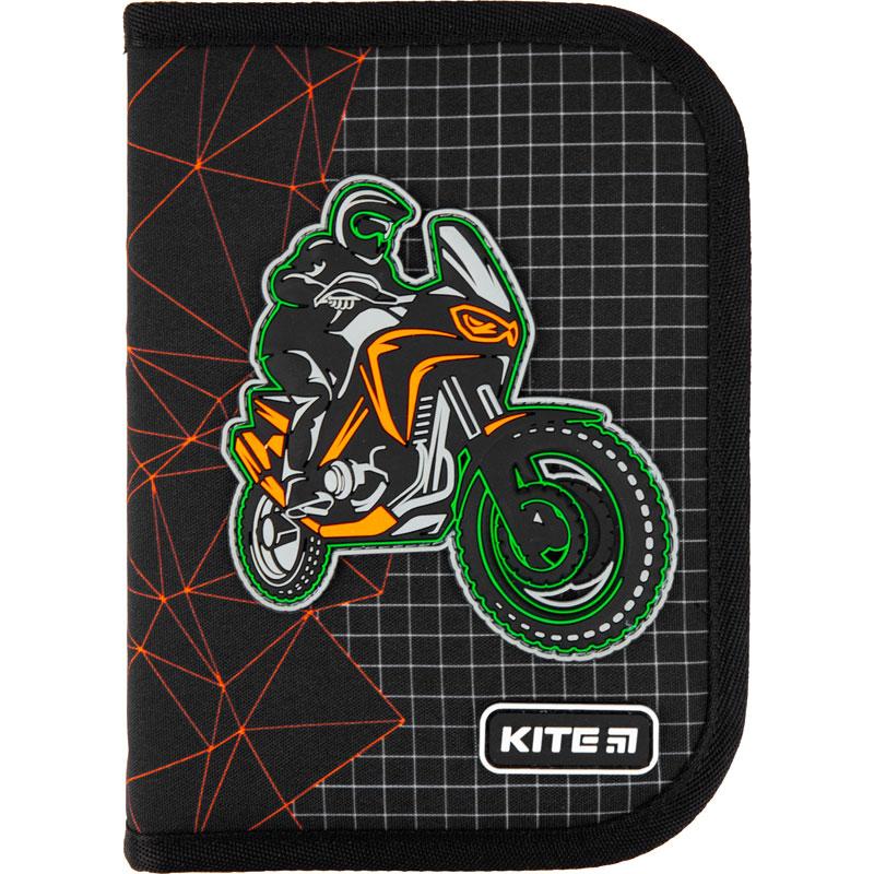 Пенал без наполнения Kite Education Motocross K21-622-2, 1 отделение, 2 отворота
