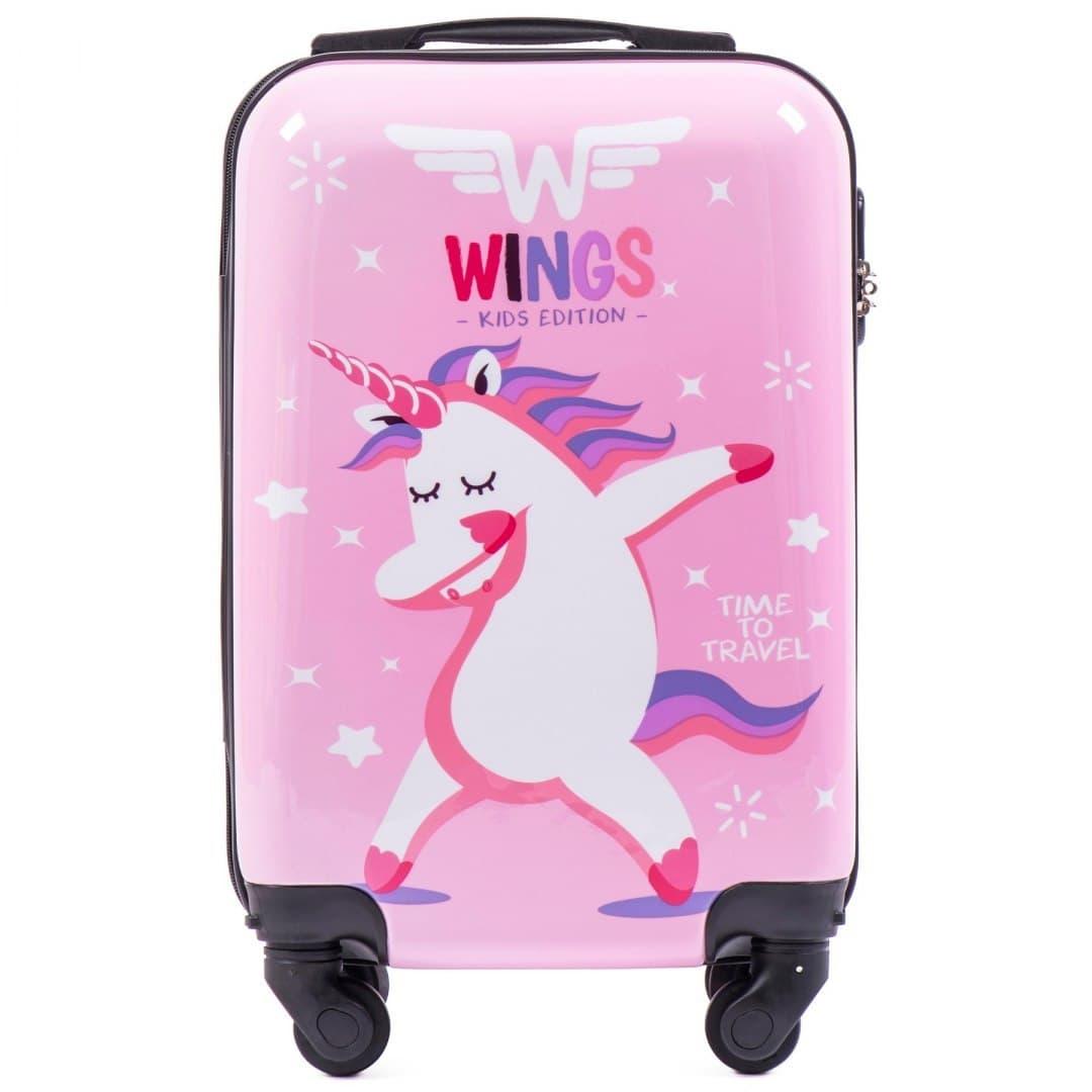 Детский чемодан на колесиках для девочек WINGS KD01 S Unicorn