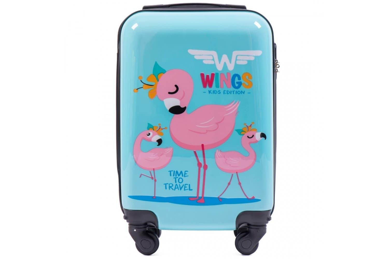 Детский маленький чемодан на колесиках  WINGS KD01 XS Flamingo