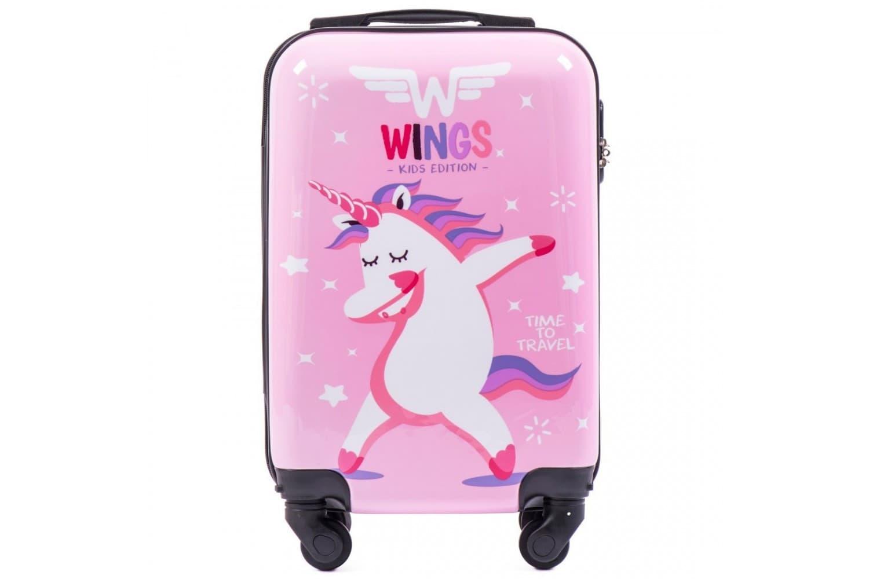 Детский маленький чемодан на колесиках для девочек WINGS KD01 XS Unicorn