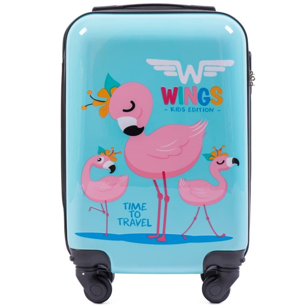Valiza pt copii pe 4 roti WINGS KD01 S Flamingo