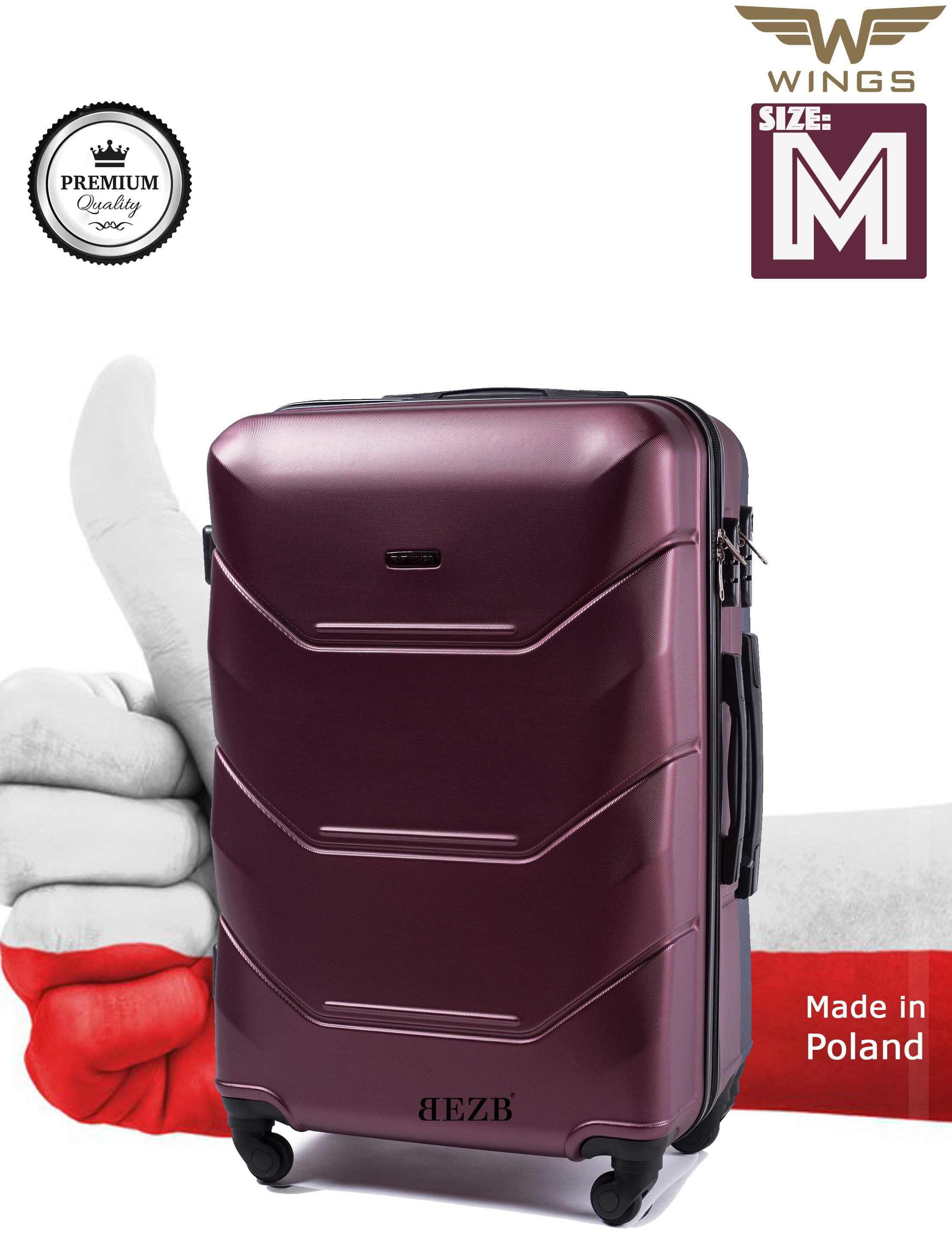 Valiza medie WINGS 147 M BURGUND Premium pe 4 roti din cauciuc!Pt bagaj,pina la 18 kg