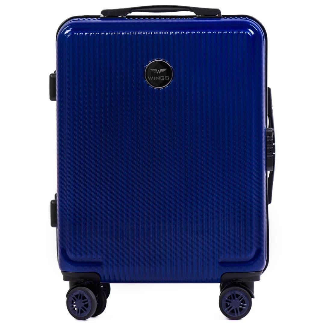 Valiza mica WINGS 565 S Royal Blue din POLICARBON pe 4 roti !Pt bagaj de maina,pt 7-10 kg