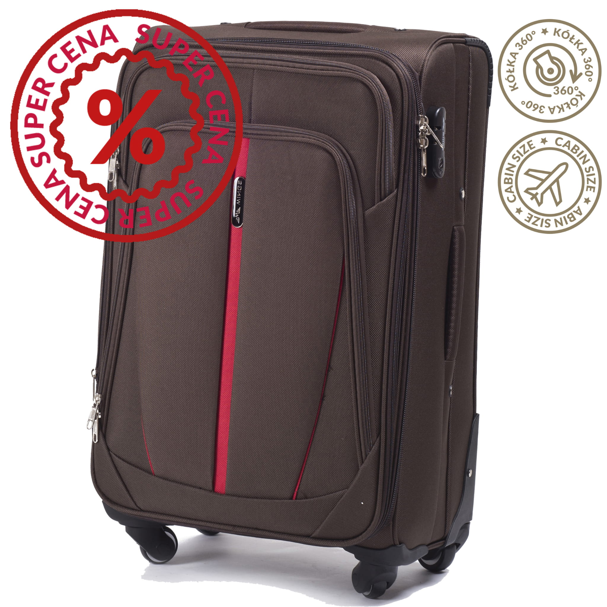 Малый Тканевый Чемодан Wings 1706-4 S COFFE PREMIUM на 4-х прочных колесах! Для багажа,до 10 кг