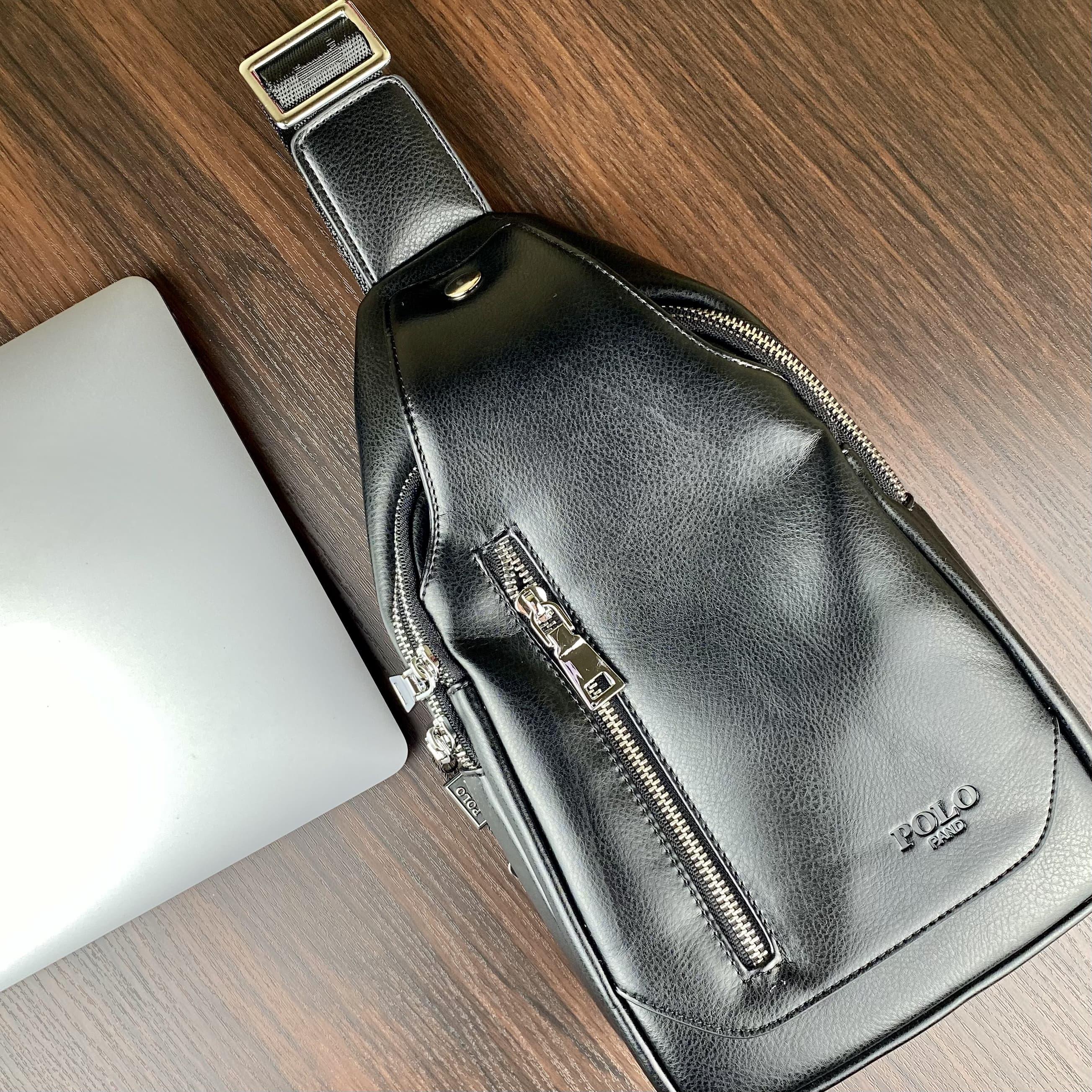 Стильная небольшая мужская сумка рюкзак с эко кожи POLO B1202 BLACK