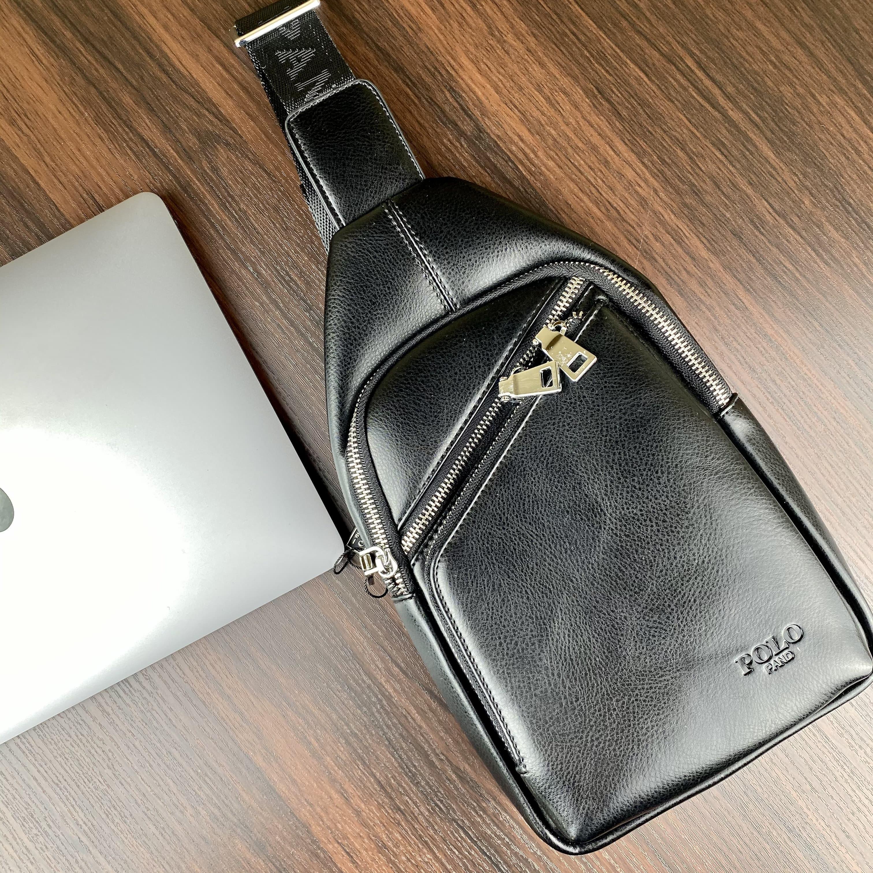 Стильная небольшая мужская сумка рюкзак с эко кожи POLO B1203 BLACK